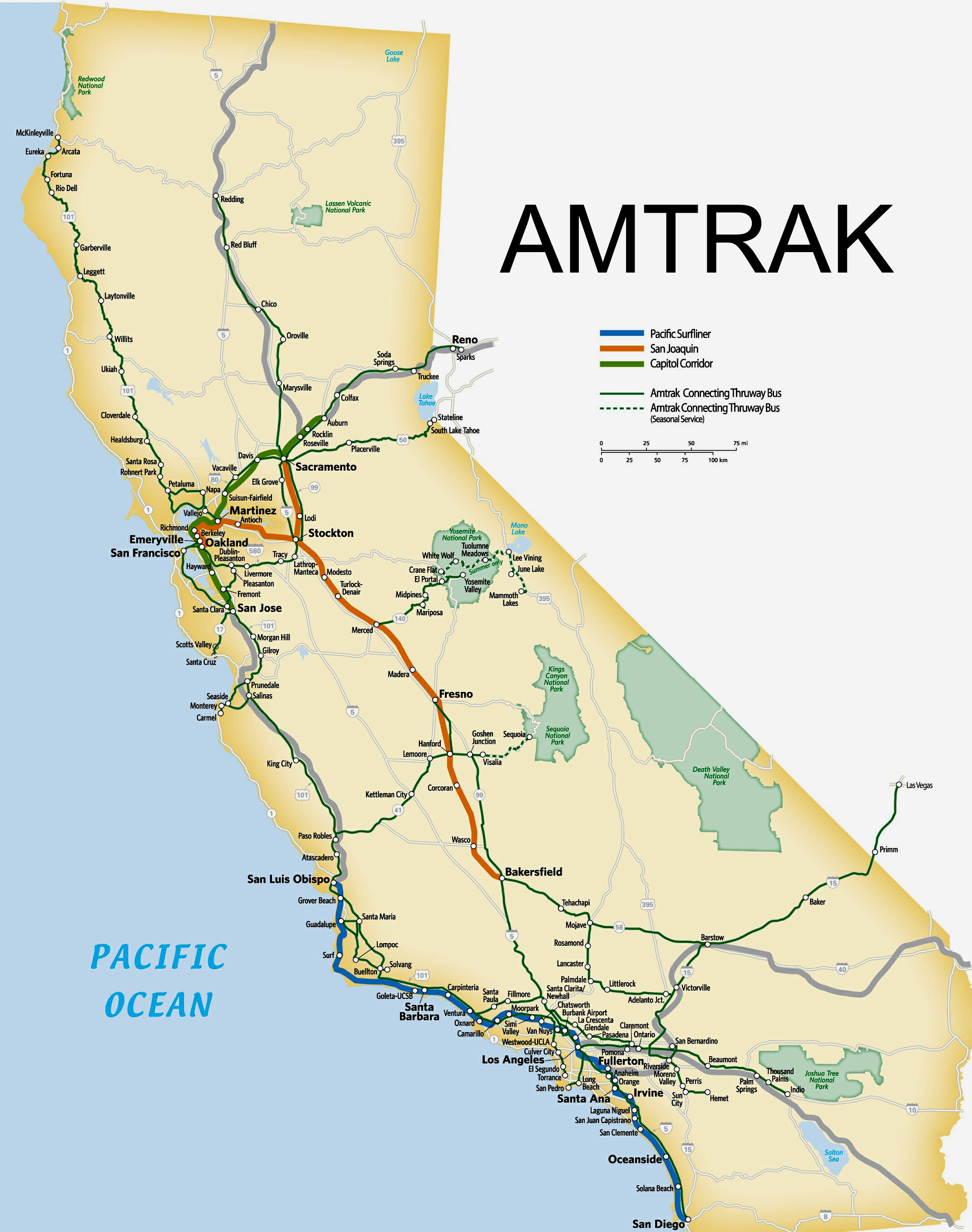 Amtrak Route Map Southern Map Of California Springs Amtrak Map - Amtrak California Coast Map