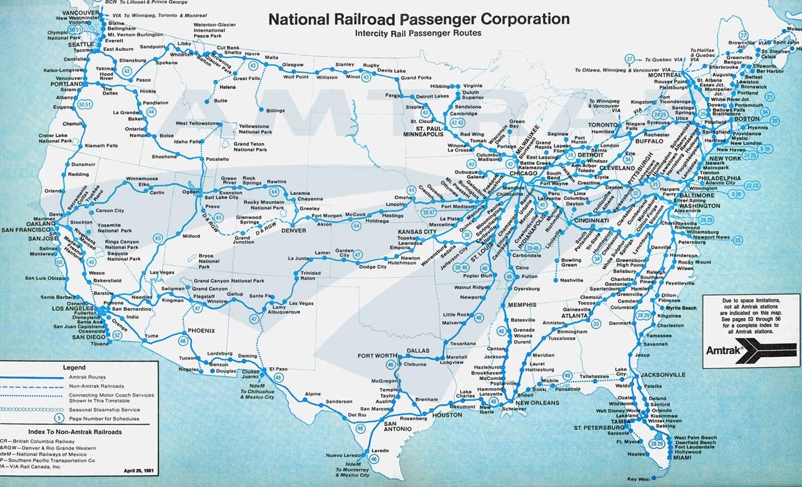 Amtrak System Map, 1981. — Amtrak: History Of America's Railroad - Amtrak California Surfliner Map
