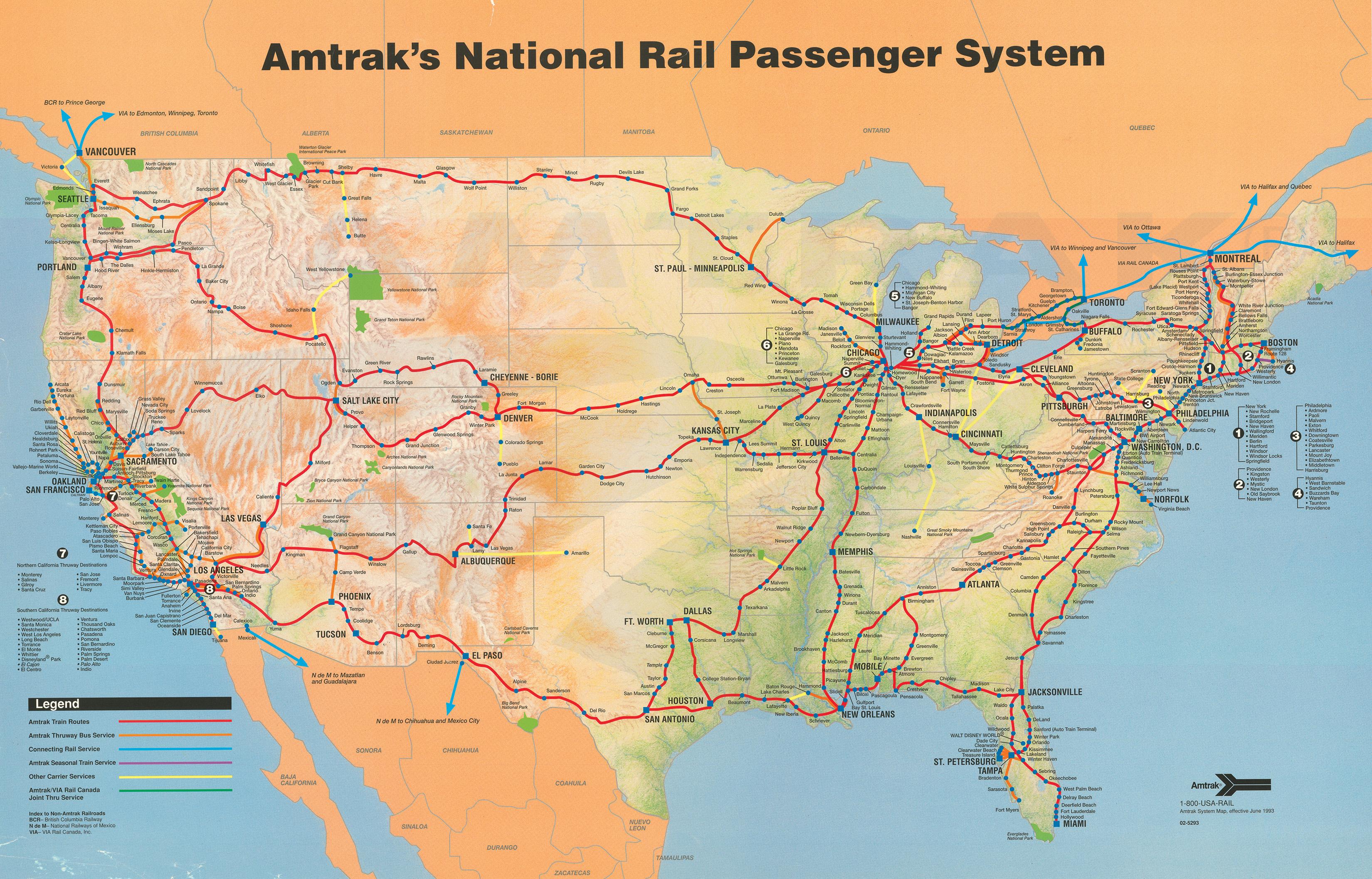 Amtrak System Map, 1993. — Amtrak: History Of America's Railroad - Amtrak California Surfliner Map