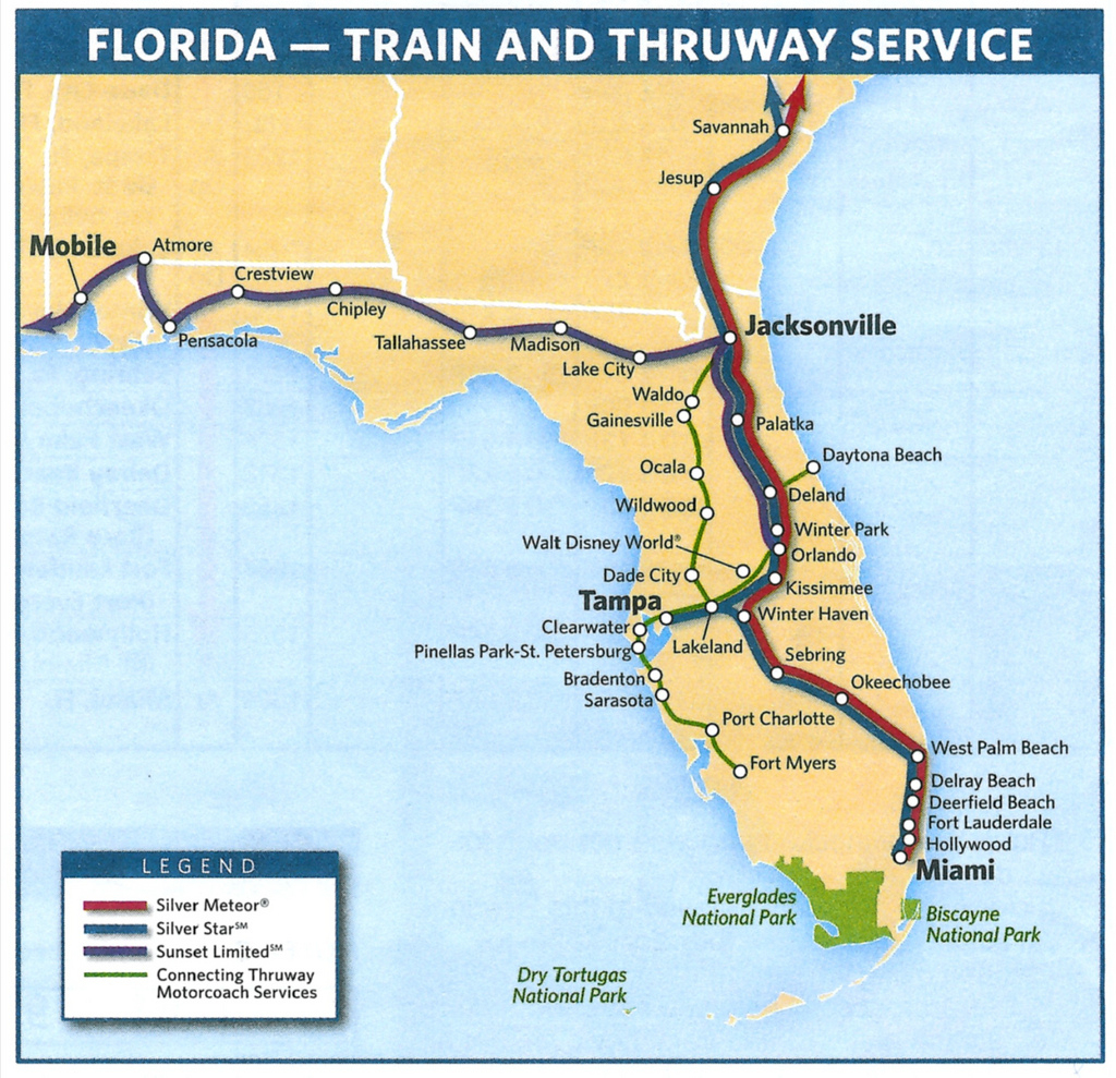 Amtrak's Florida Routes In 2009 | This Amtrak System Map Sho - Amtrak Station Map Florida