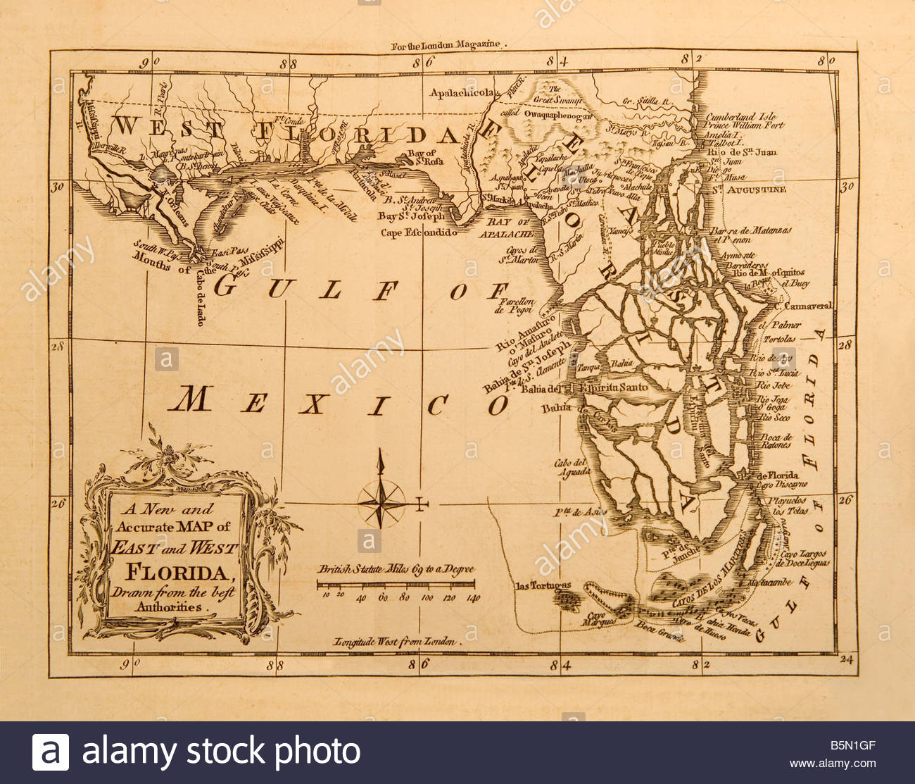 An Old Map Of The State Of Florida In America Made In 1764 For The - Florida Old Map