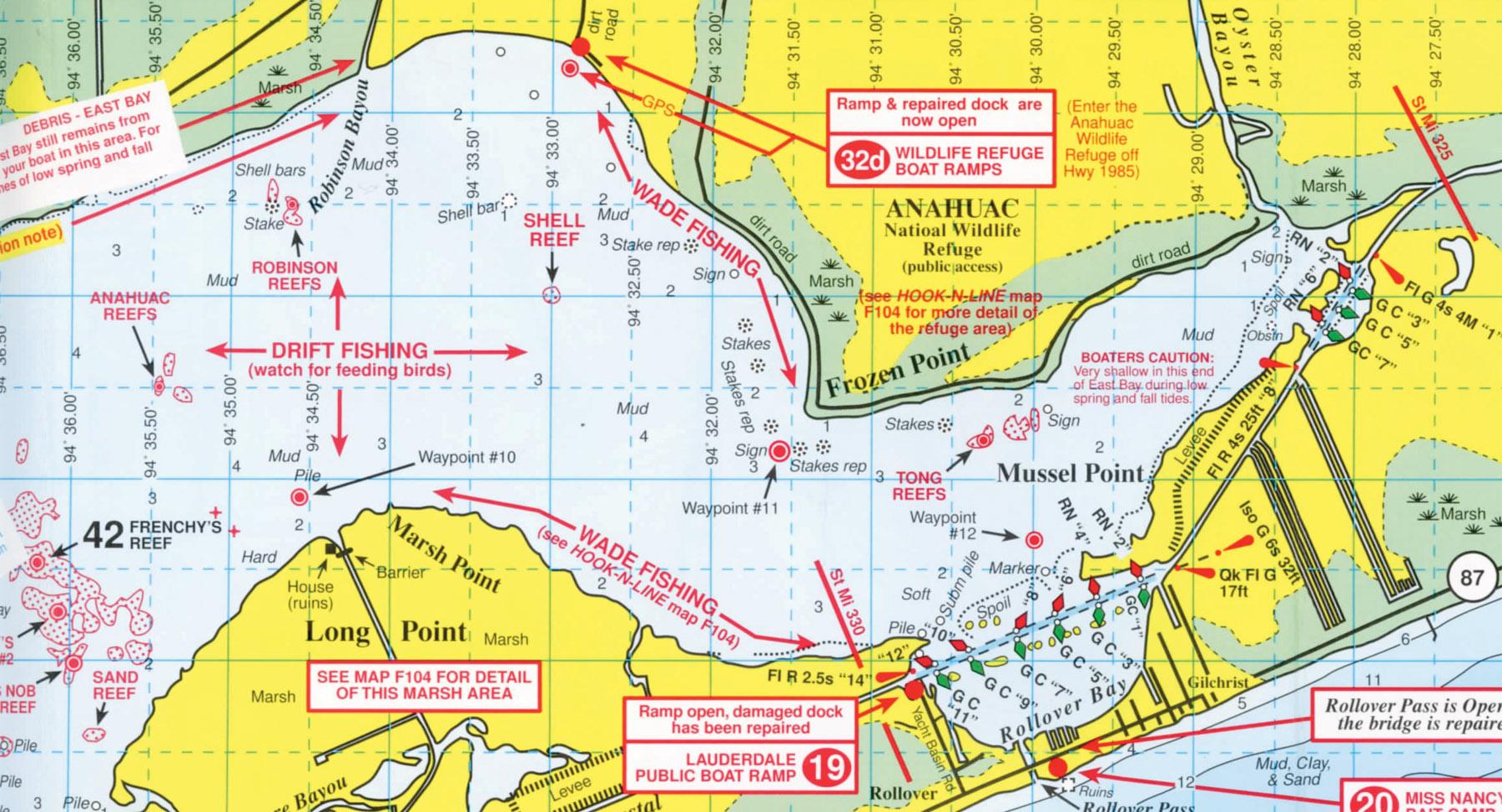 Anahuac National Wildlife Refuge - Texas Wade Fishing Maps
