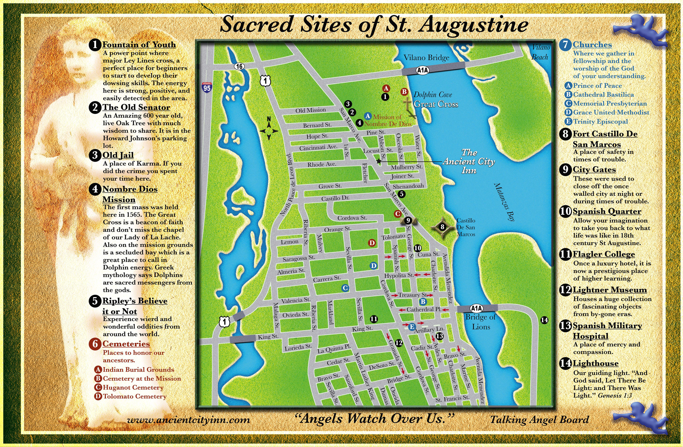 Ancient City Inn B&b Sacred Sites - St Augustine Florida Map Of Attractions