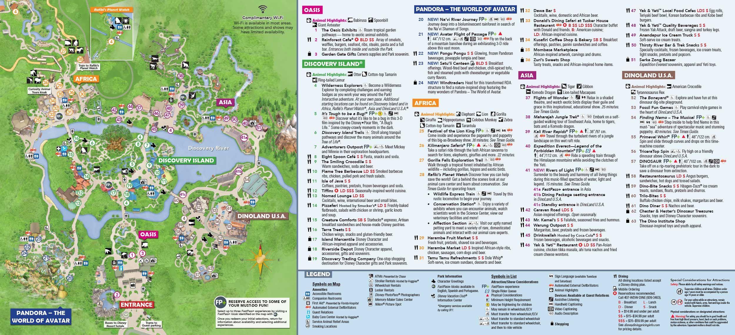Animal Kingdom Itinerary In 2019   Disney World   Disney World Map - Animal Kingdom Florida Map