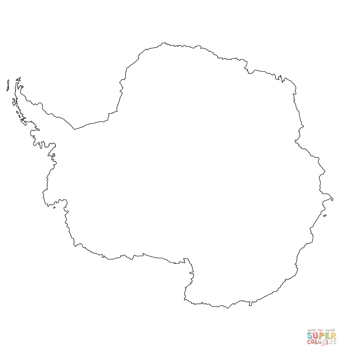 Antarctica Outline Map Coloring Page | Free Printable Coloring Pages - Printable Map Of Antarctica