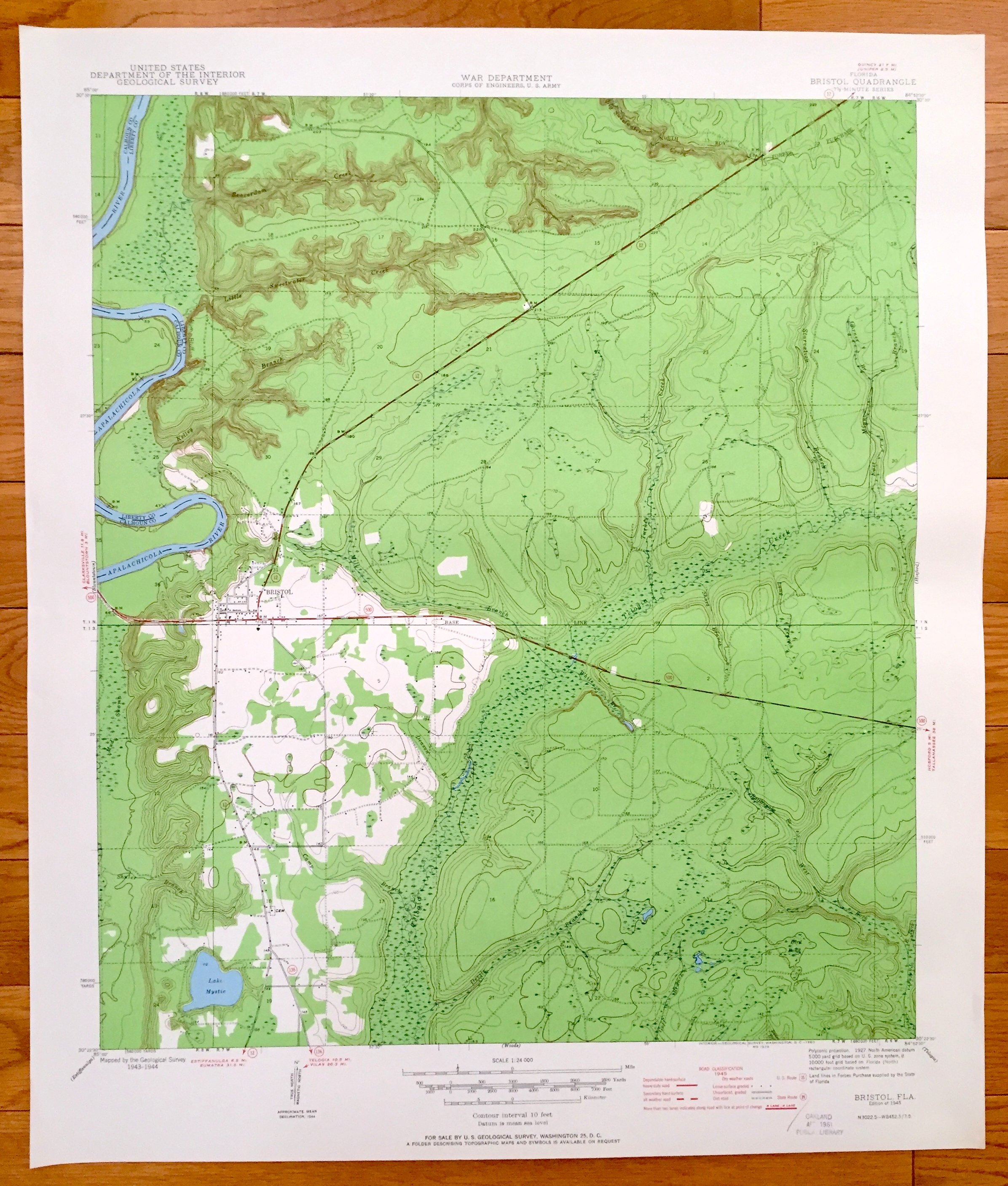 Antique Bristol Florida 1945 Us Geological Survey Topographic | Etsy - Bristol Florida Map