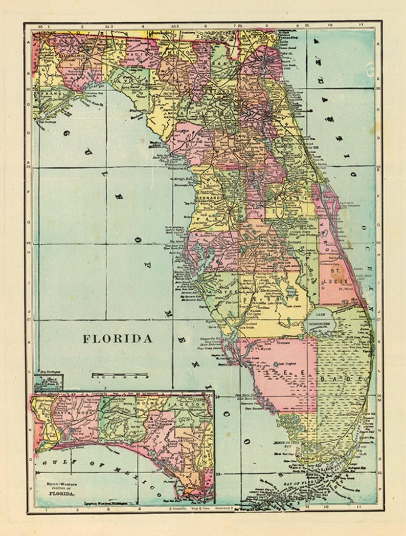 Antique Florida Digital Map. Florida Printable Poster. Florida | Etsy - Antique Florida Map