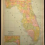 Antique Florida Map Of Florida Wall Decor Art Original Gift Idea   Florida Map Wall Decor