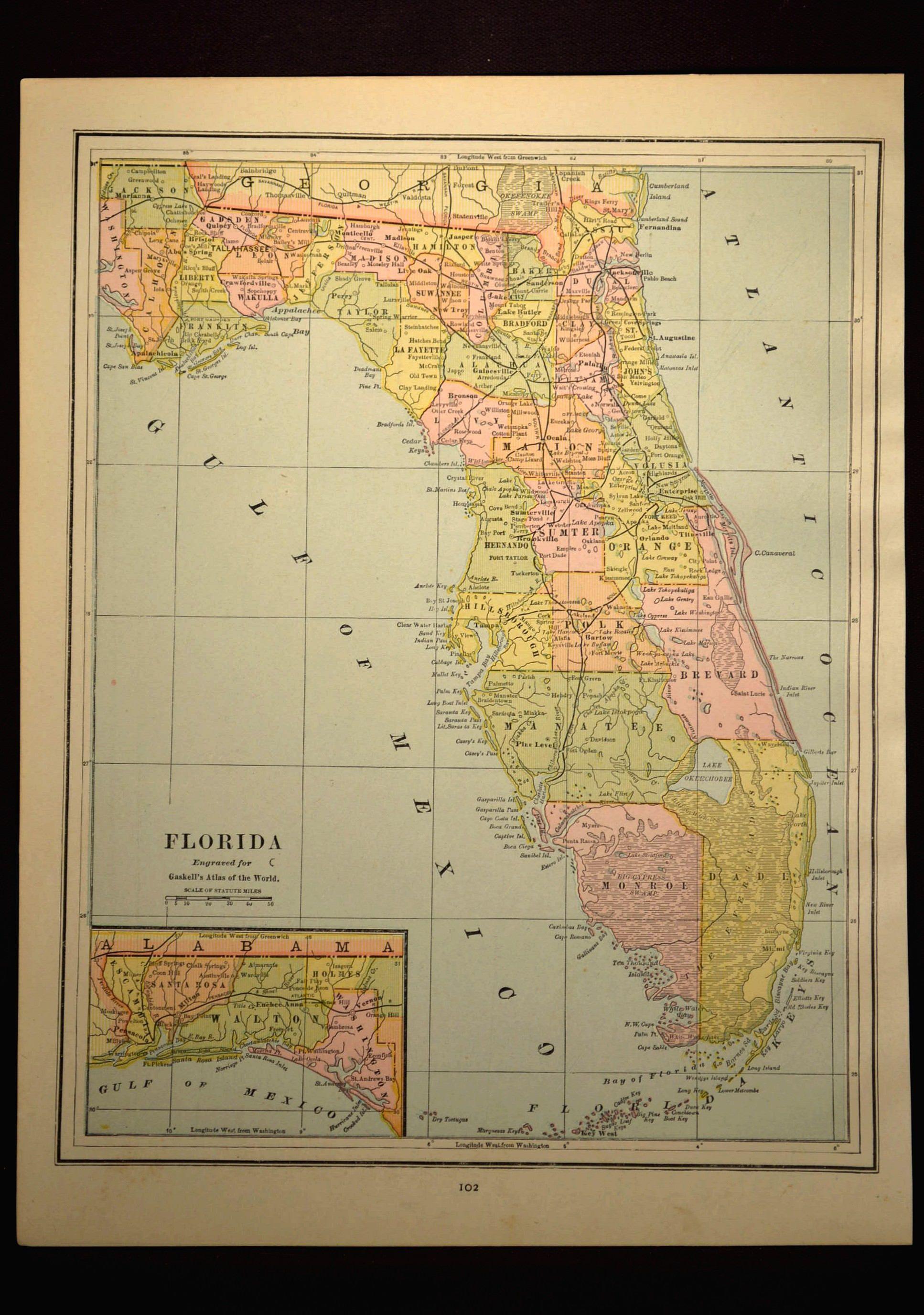 Antique Florida Map Of Florida Wall Decor Art Original Gift Idea - Map Of Florida Wall Art