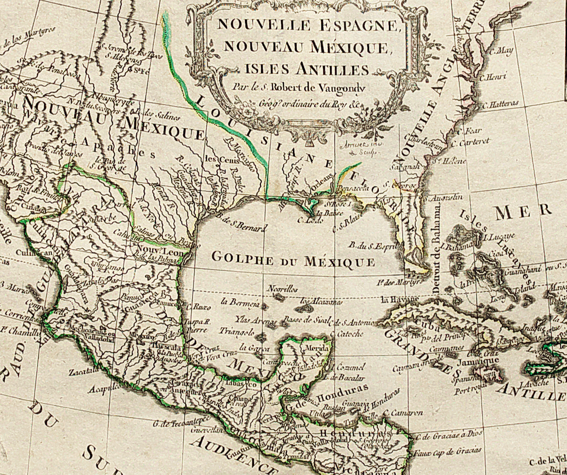 Antique Map Of Florida, New Mexico & Central Americavaugondy - Jennings Florida Map