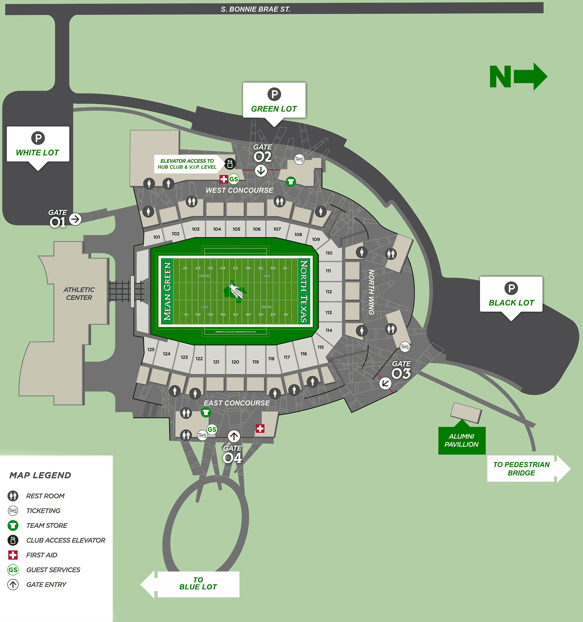 Apogee Stadium Map - University Of North Texas Athletics - University Of Texas Stadium Seating Map