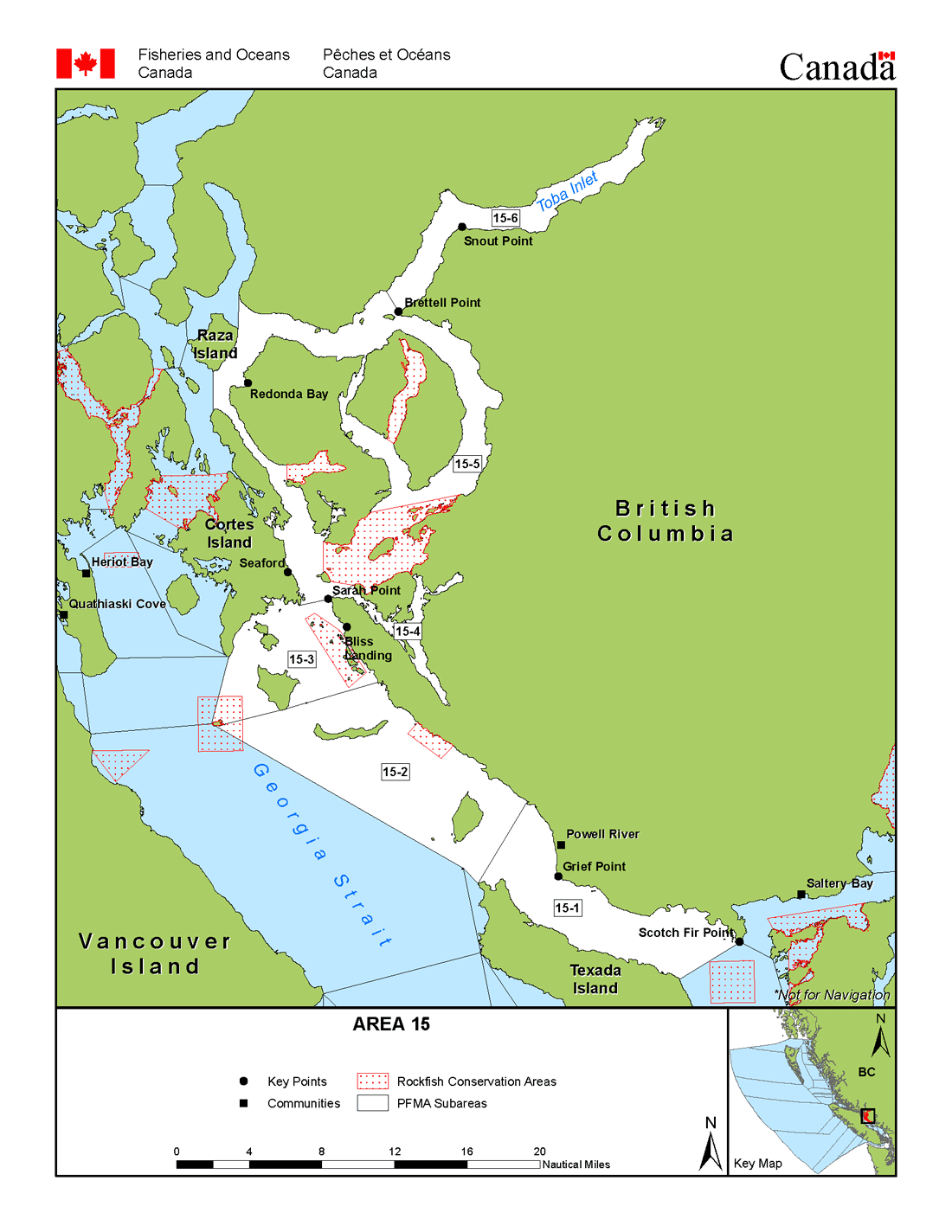Area 15 (Powell River, Texada Island) - Bc Tidal Waters Sport - California Fishing Regulations Map