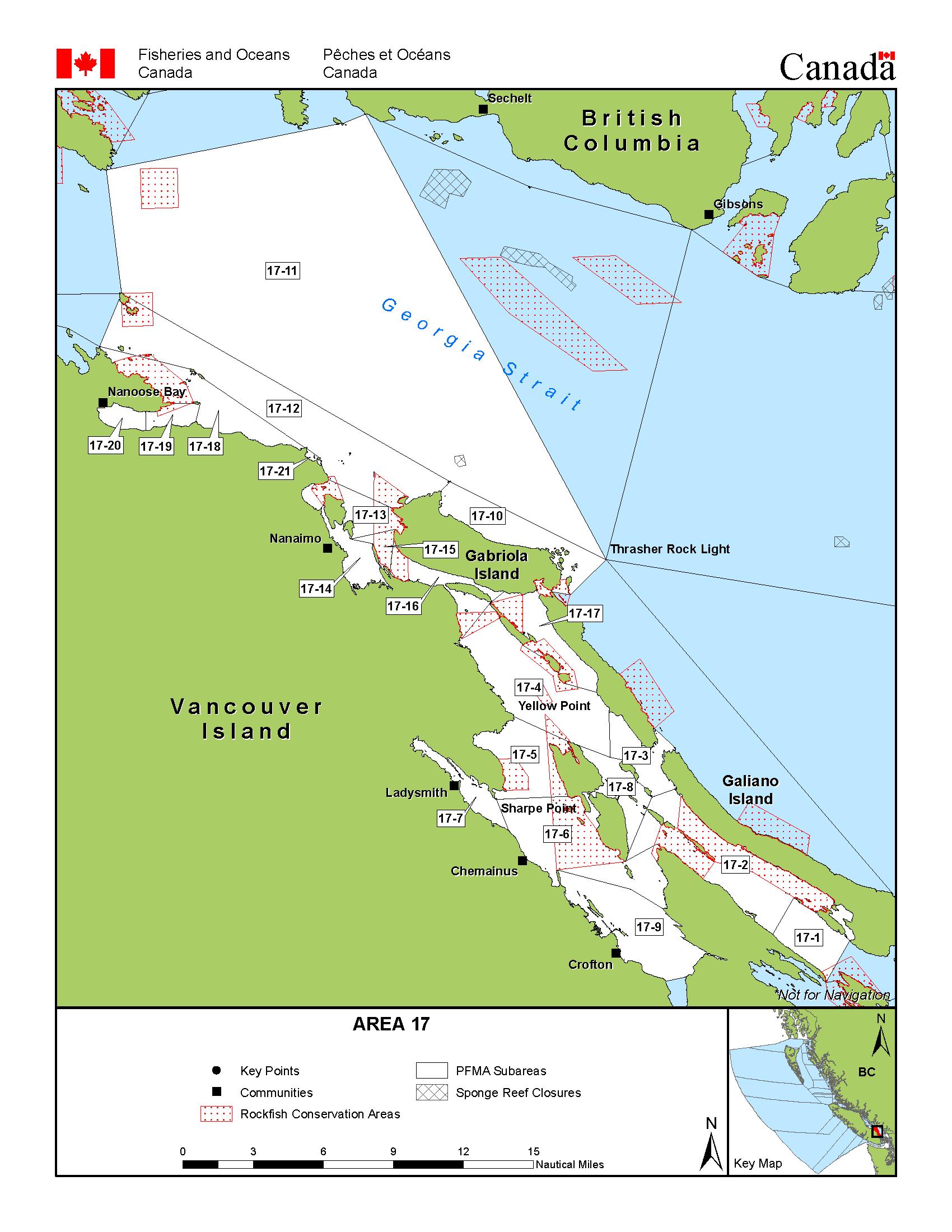Area 17 (Nanaimo) - Bc Tidal Waters Sport Fishing Guide - California Fishing Regulations Map