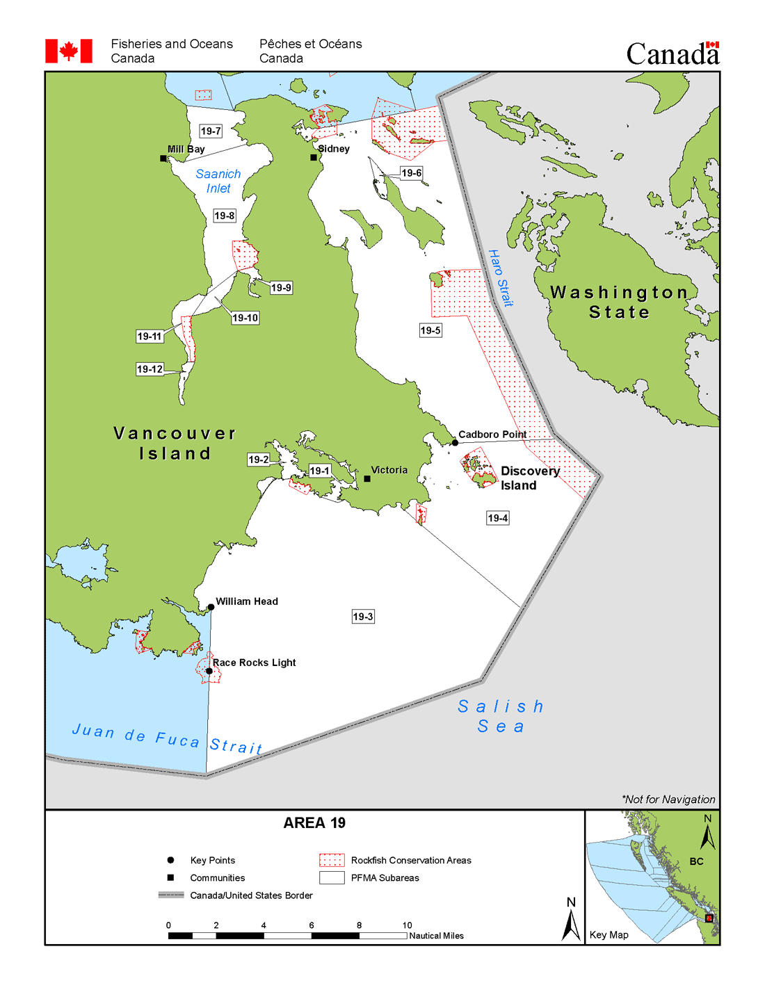 Area 19 (Victoria, Sidney) - Bc Tidal Waters Sport Fishing Guide - Southern California Ocean Fishing Maps