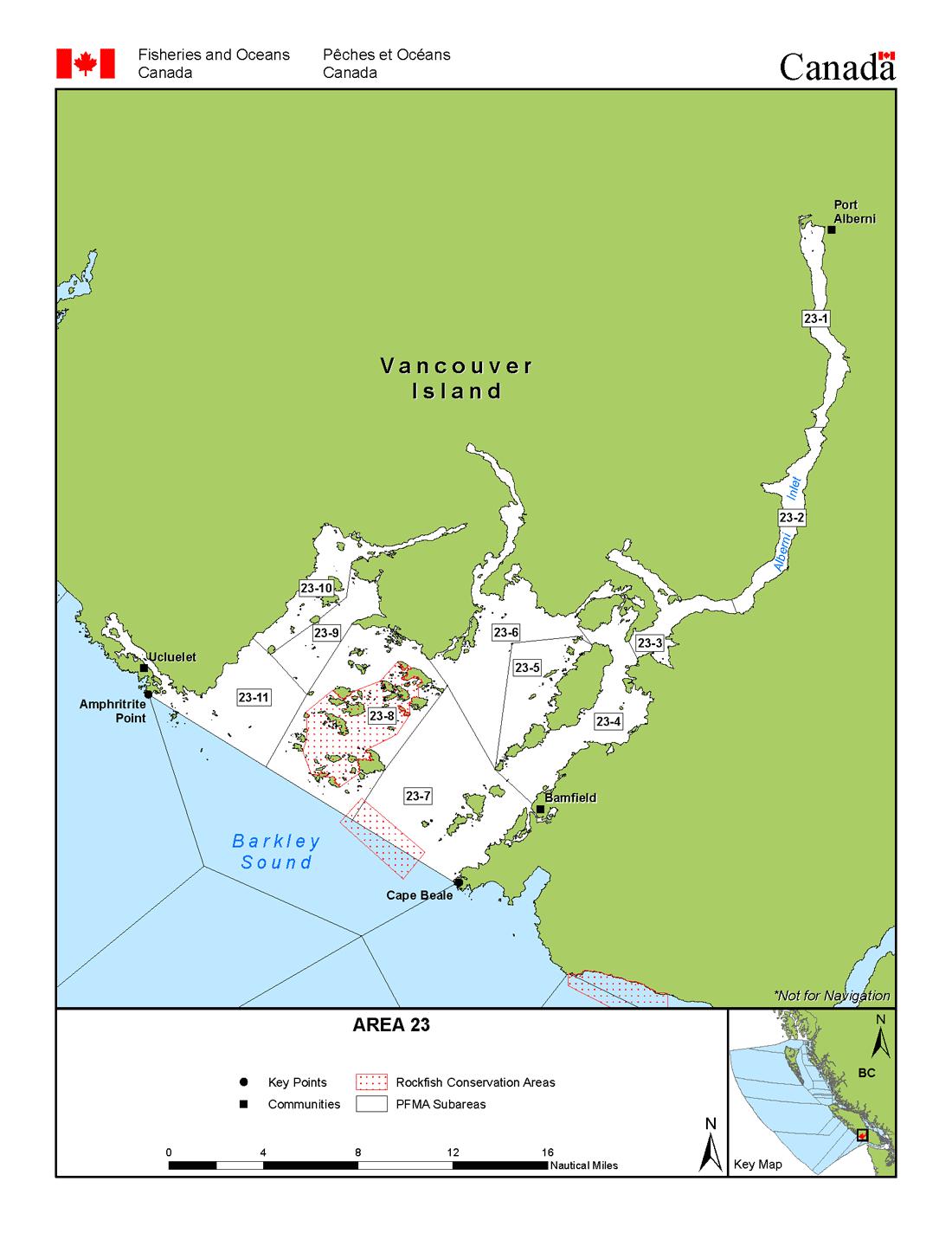 Areas 23 And 123 (Bamfield, Port Alberni) - Bc Tidal Waters Sport - California Fishing Regulations Map