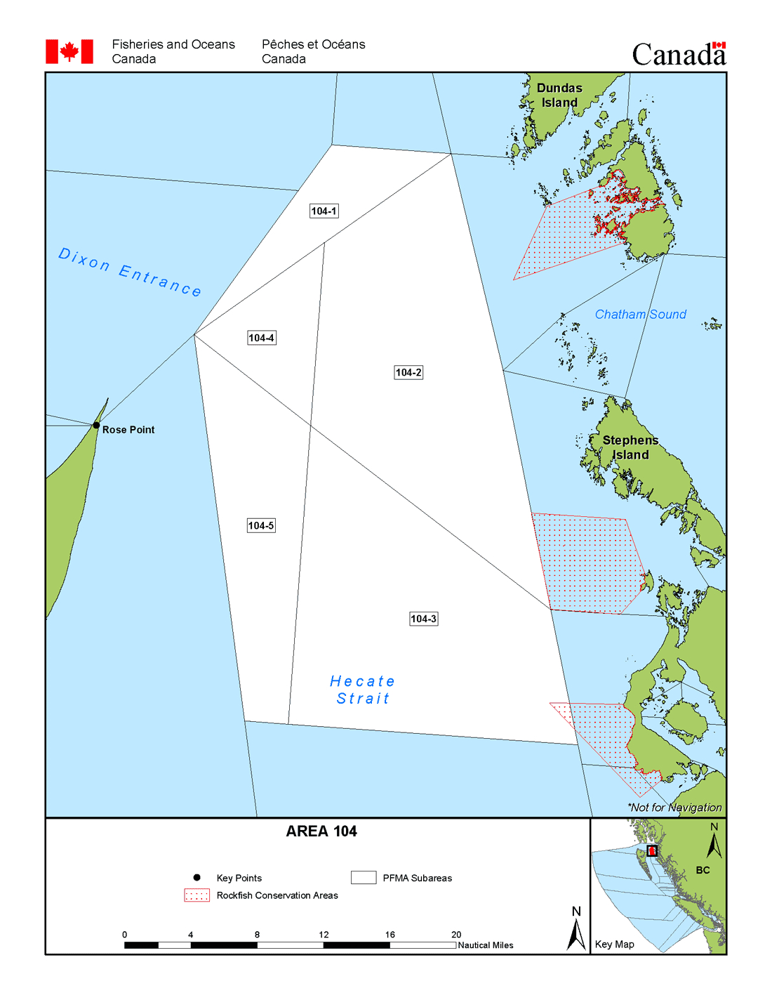 Areas 4 And 104 (Prince Rupert, Porcher Island) - Bc Tidal Waters - California Fishing Regulations Map