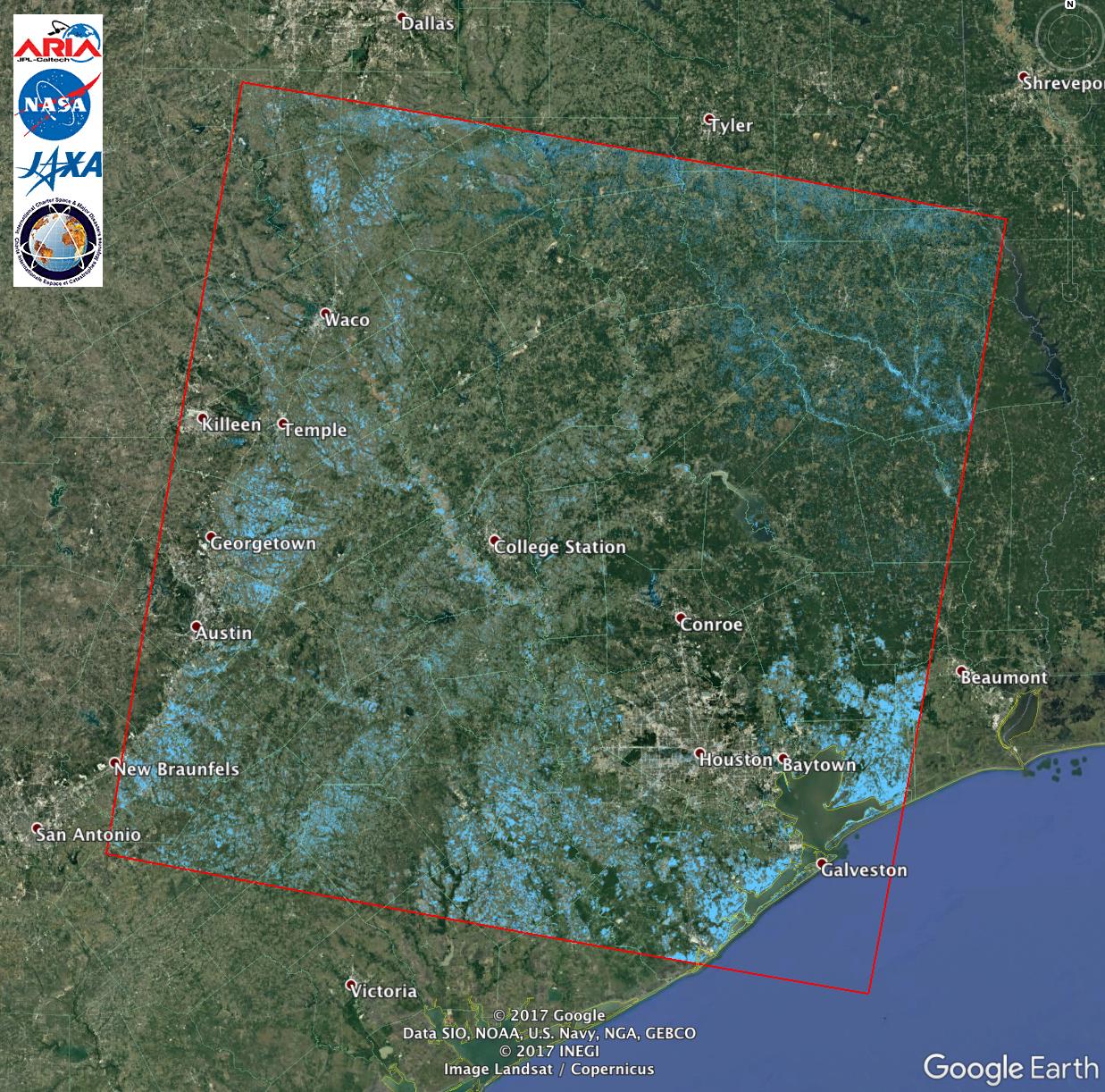 Aria Alos-2 Flood Proxy Map Of Texas Flooding From Harvey | Nasa - Conroe Texas Flooding Map