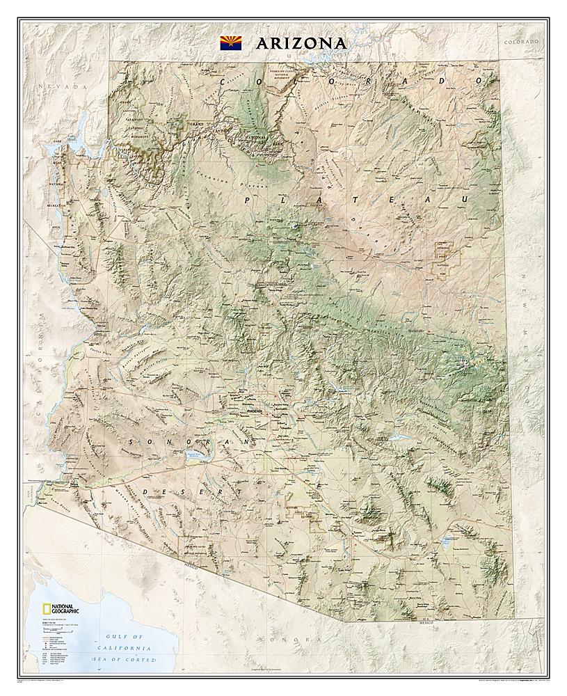 Arizona Wall Mapnational Geographic Maps - Rocky Mountain Maps - National Geographic Maps California