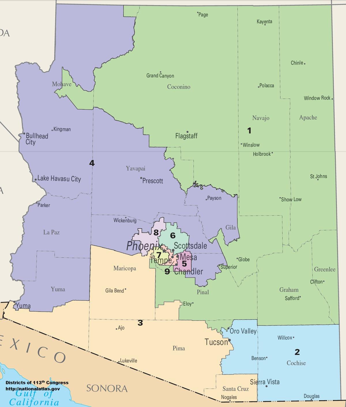 Arizona's Congressional Districts - Wikipedia - Texas 2Nd Congressional District Map