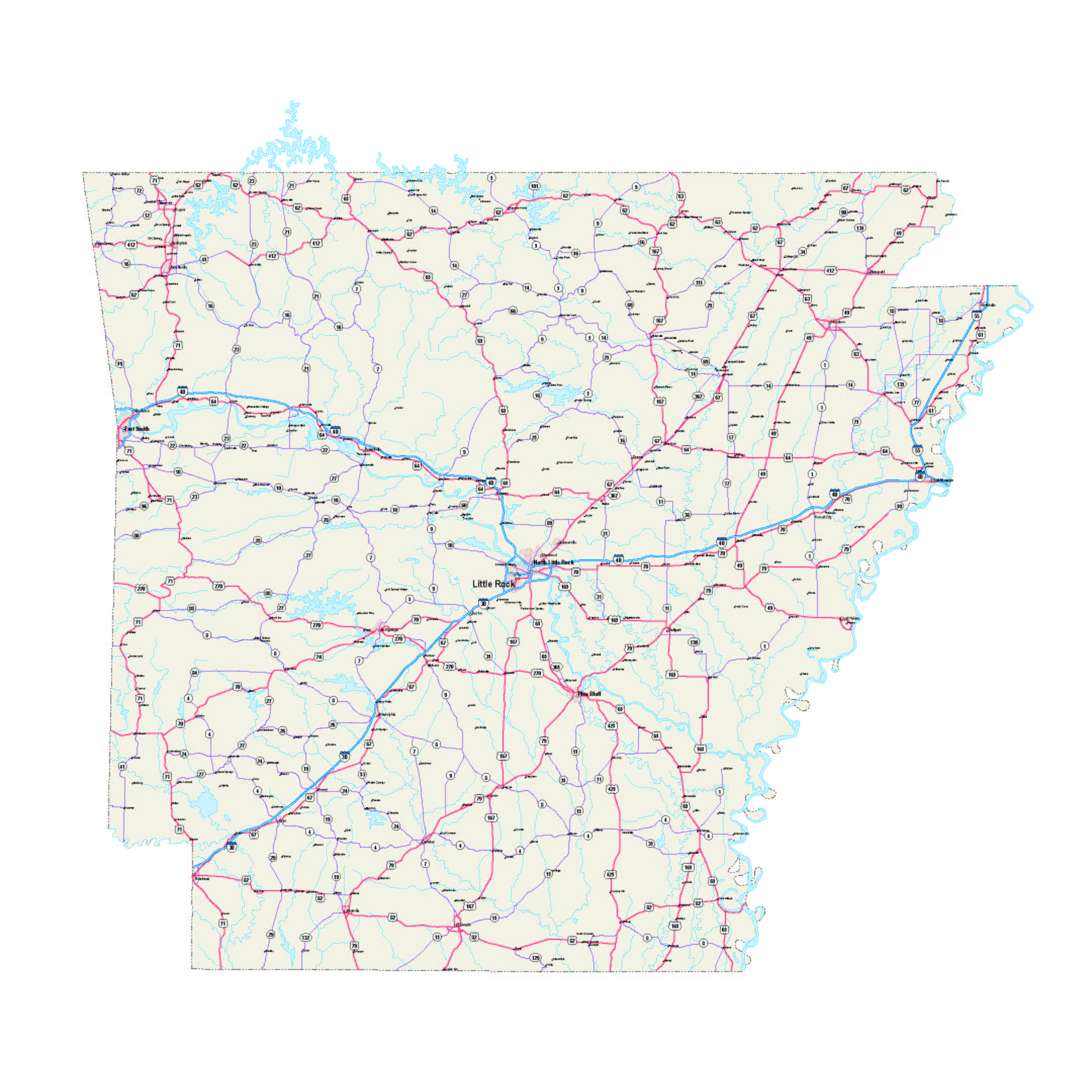 Arkansas Map - Arkansas Maps Free - Arkansas Printable Road Maps - Arkansas Road Map Printable