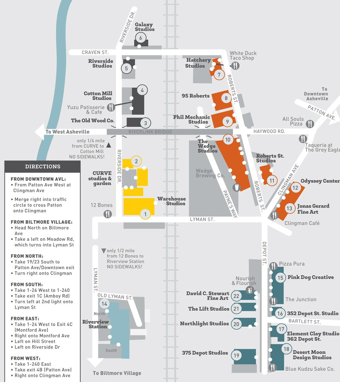 Asheville River Arts District Map - Where To Eat, Find Artists - Printable Map Of Downtown Asheville Nc