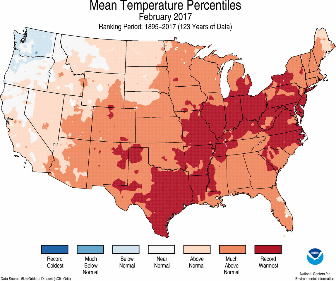 Assessing The U.s. Climate In February 2017 | News | National - Texas Temperature Map