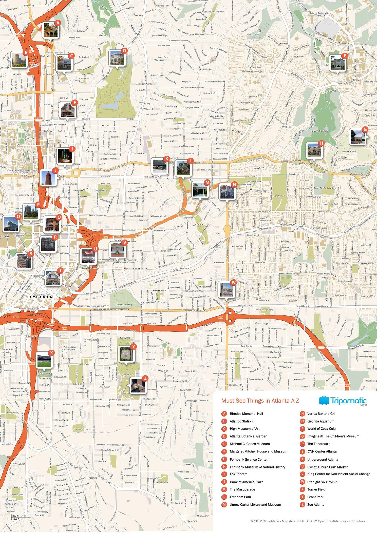 Atlanta Printable Tourist Map | Free Tourist Maps ✈ | Pinterest - Printable Map Of Columbus Ga