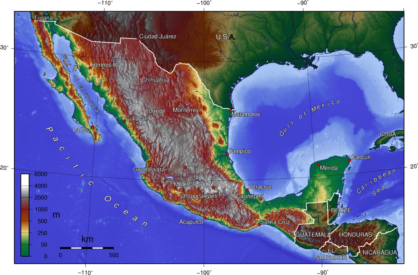 Atlas Of Mexico - Wikimedia Commons - Baja California Topographic Maps