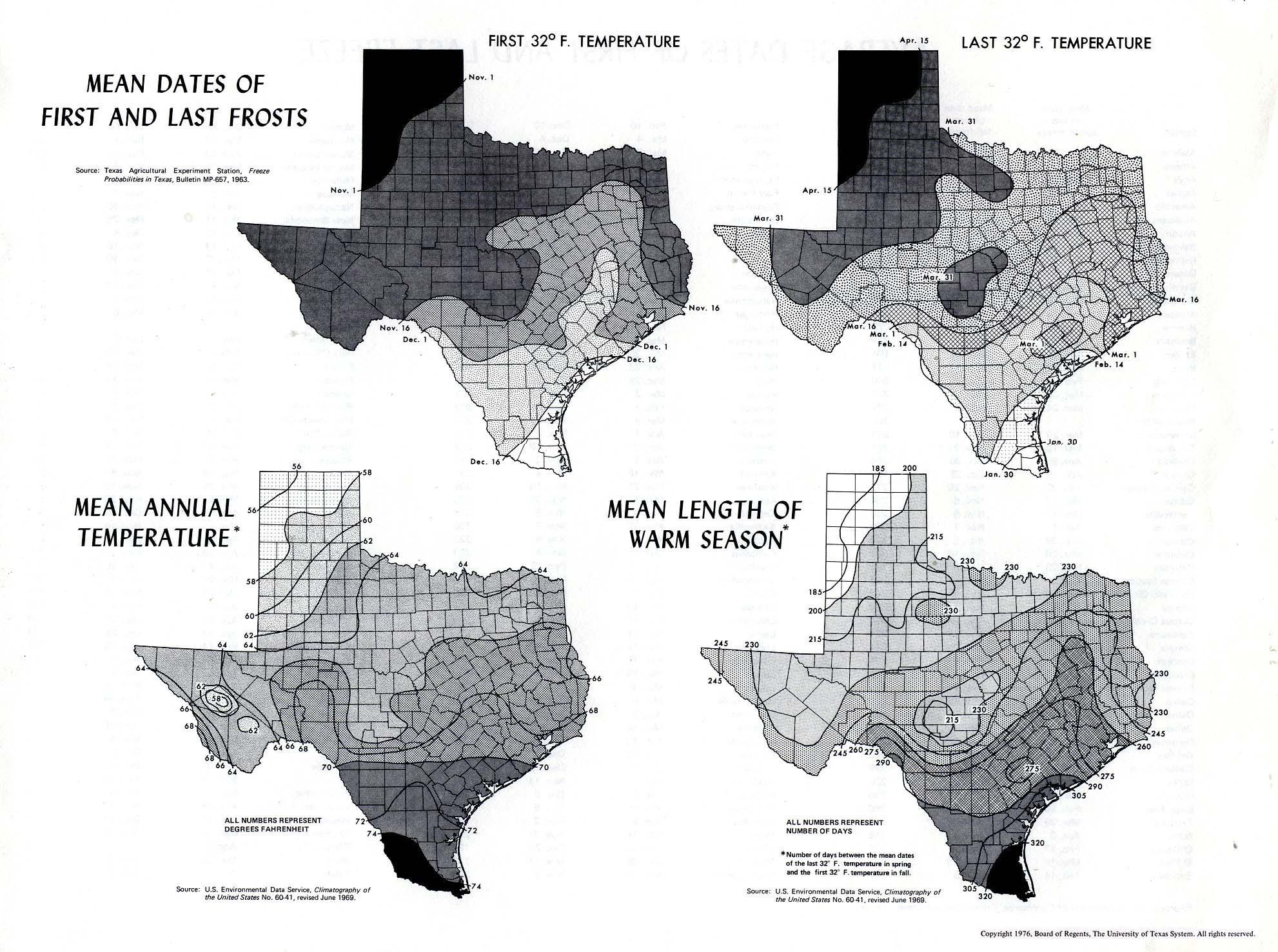 Atlas Of Texas - Perry-Castañeda Map Collection - Ut Library Online - Texas Temperature Map