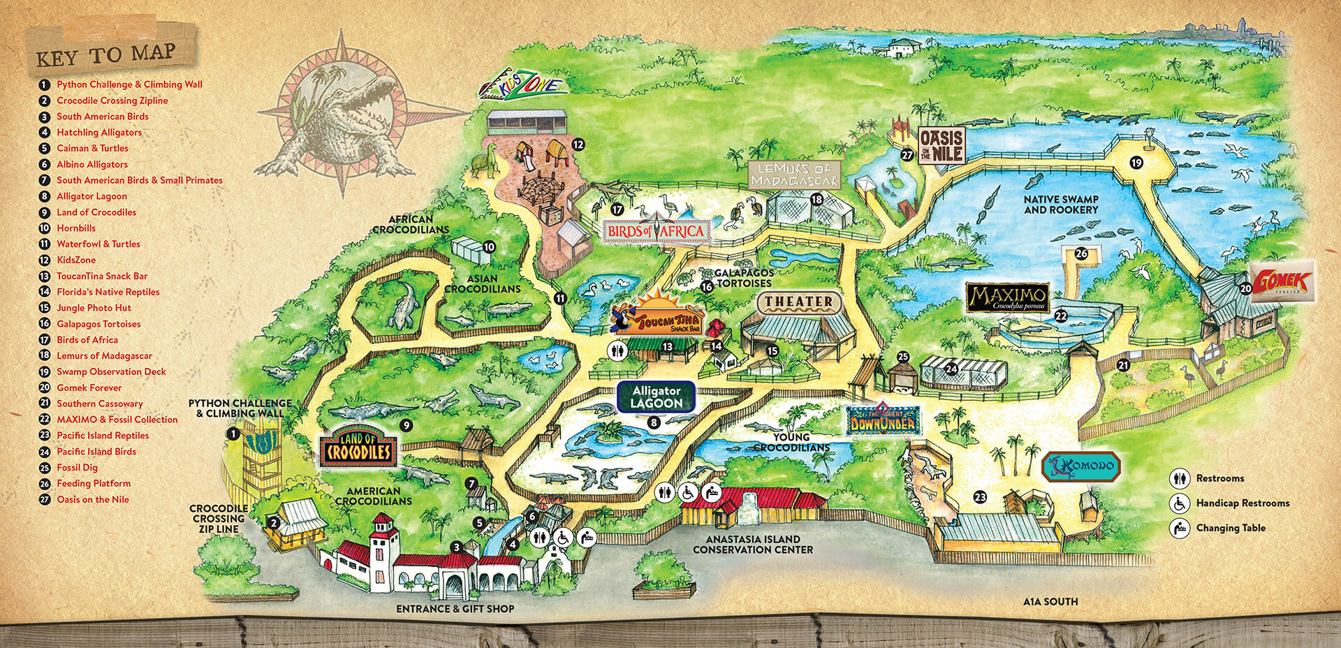 Attractions & Exhibits – St. Augustine Alligator Farm Zoological Park - St Augustine Florida Map