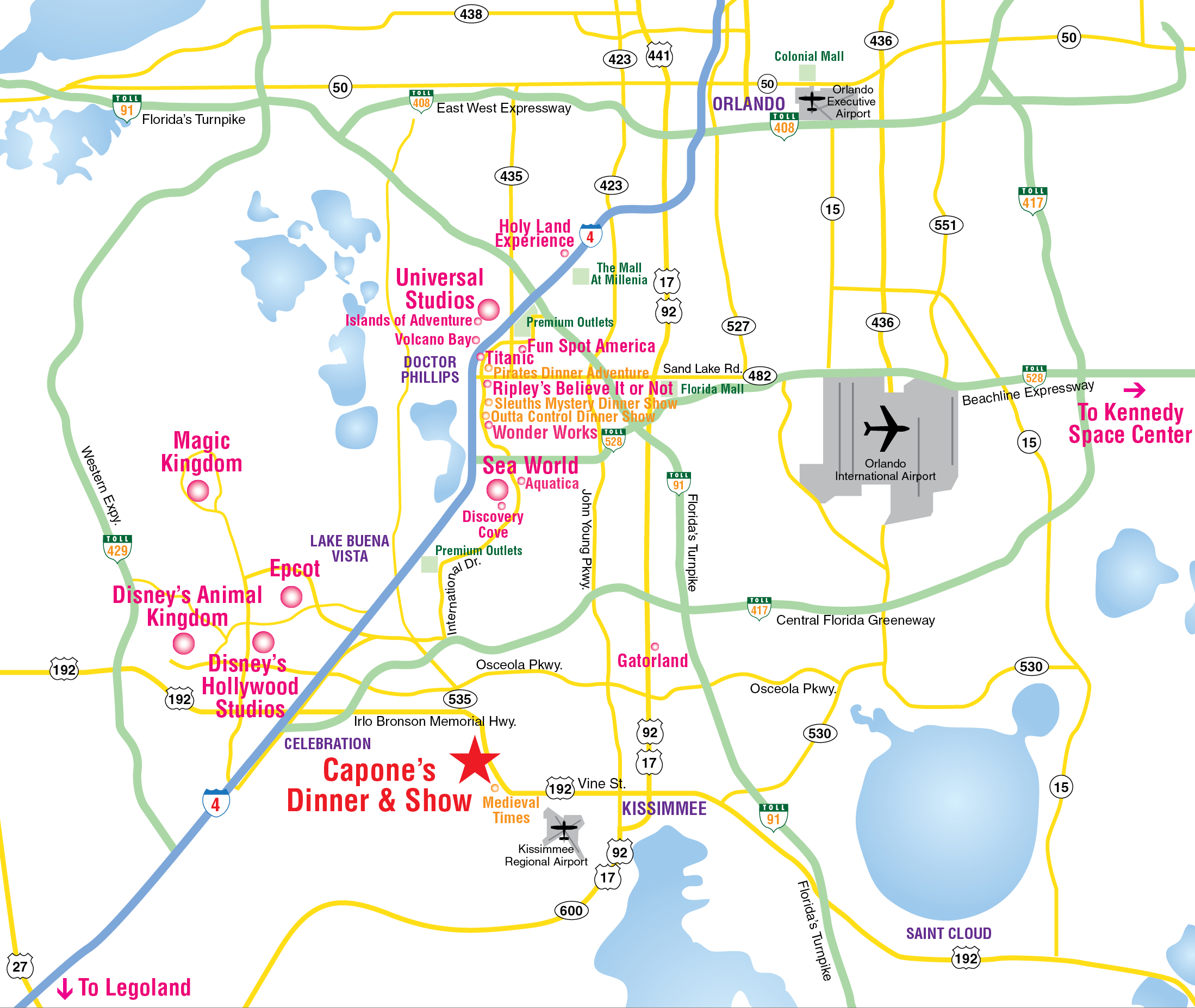 Attractions Map : Orlando Area Theme Park Map : Alcapones - Florida Tourist Map
