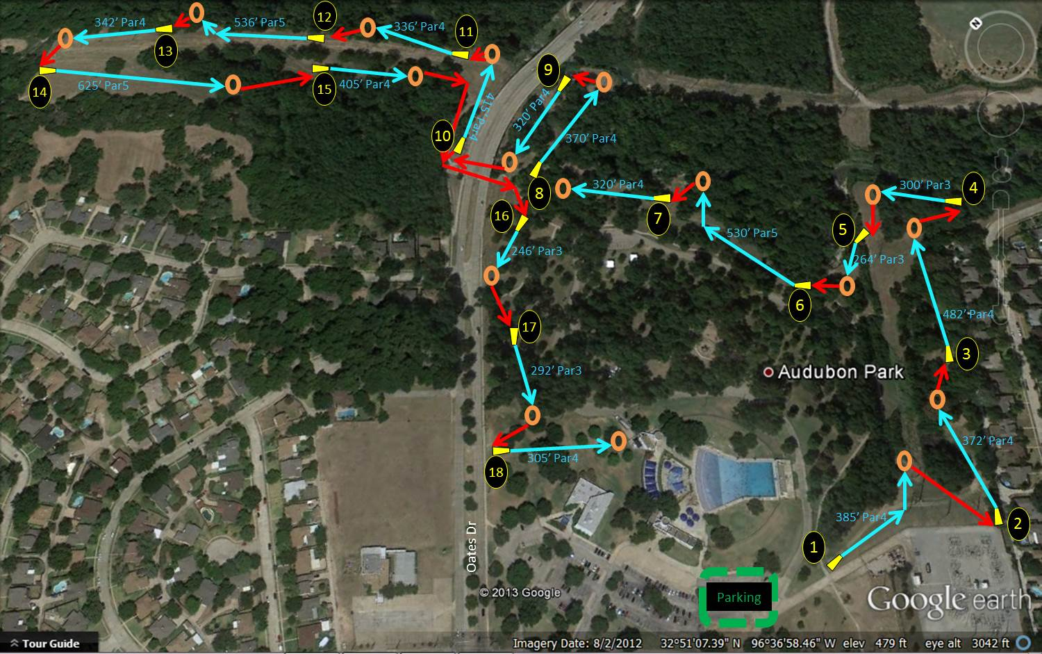 Audubon Park | Professional Disc Golf Association - Texas Golf Courses Map