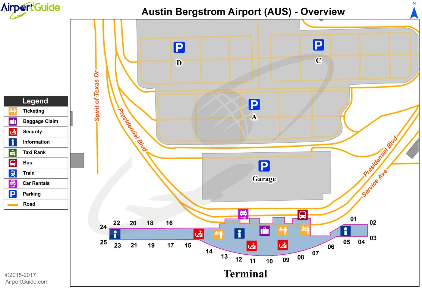 Austin Bergstrom Airport Map - Austin Bergstrom International - Austin Texas Airport Terminal Map