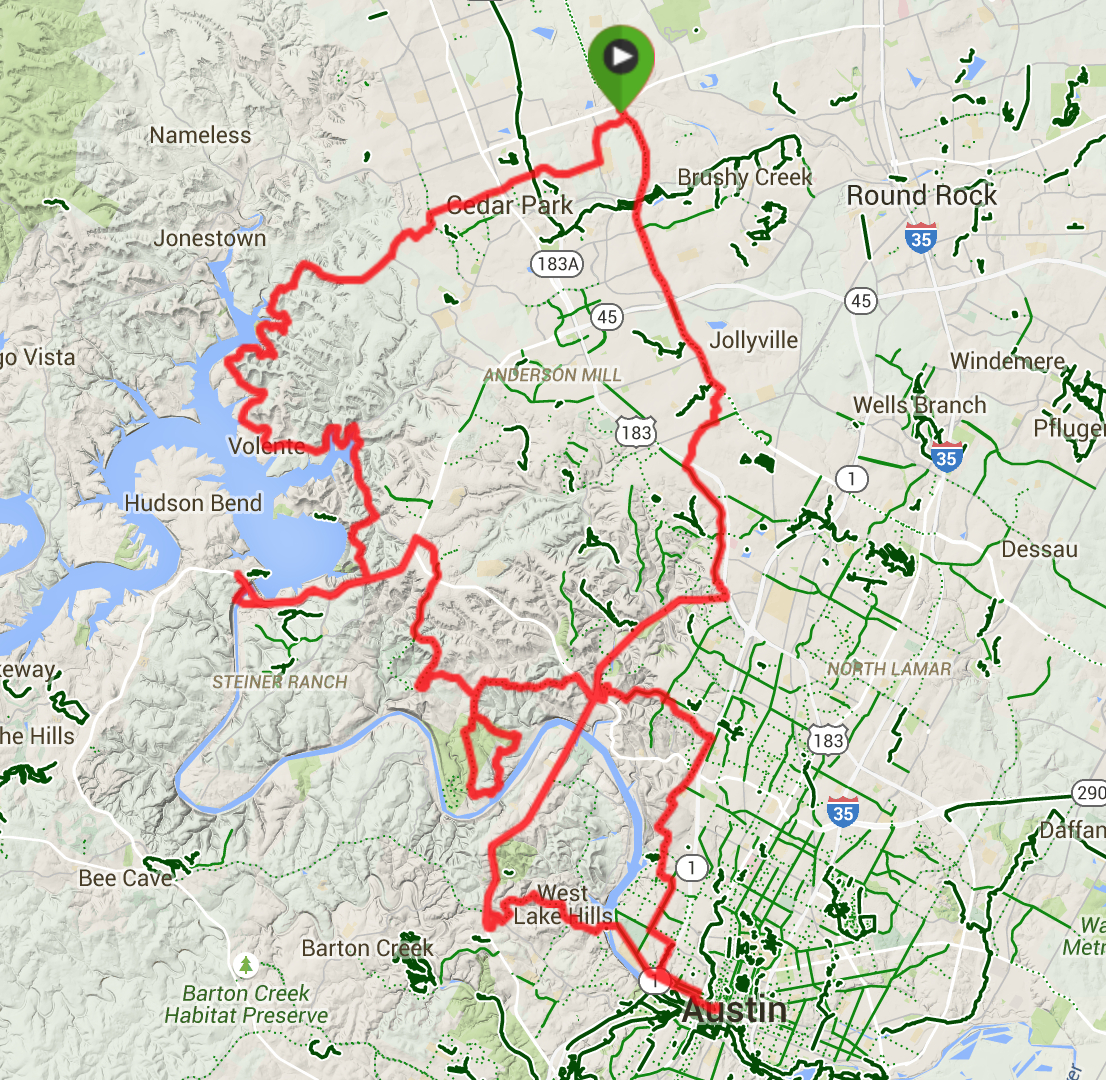 Austin Cycling Routes   - Austin Texas Bicycle Map