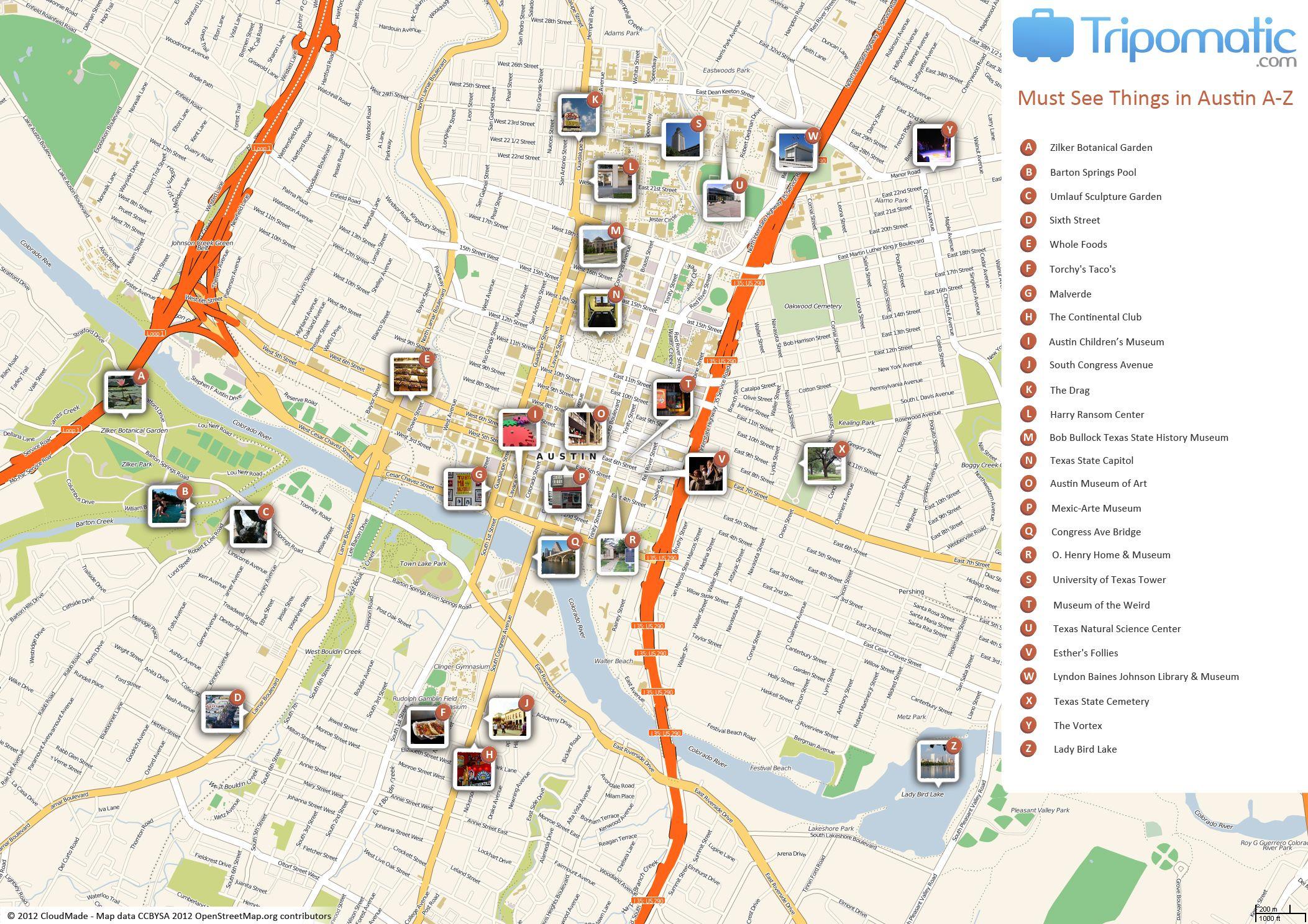 Austin Printable Tourist Map   Free Tourist Maps ✈   Tourist Map - Street Map Of Austin Texas