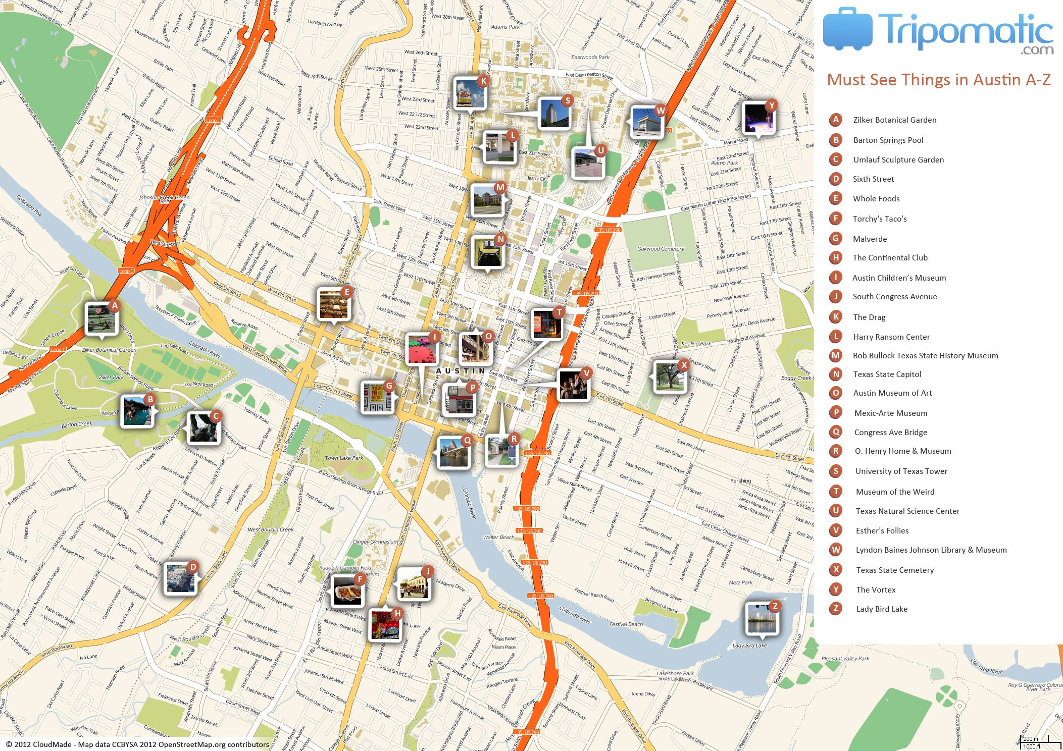 Austin Printable Tourist Map | Free Tourist Maps ✈ | Tourist Map - Texas Sightseeing Map