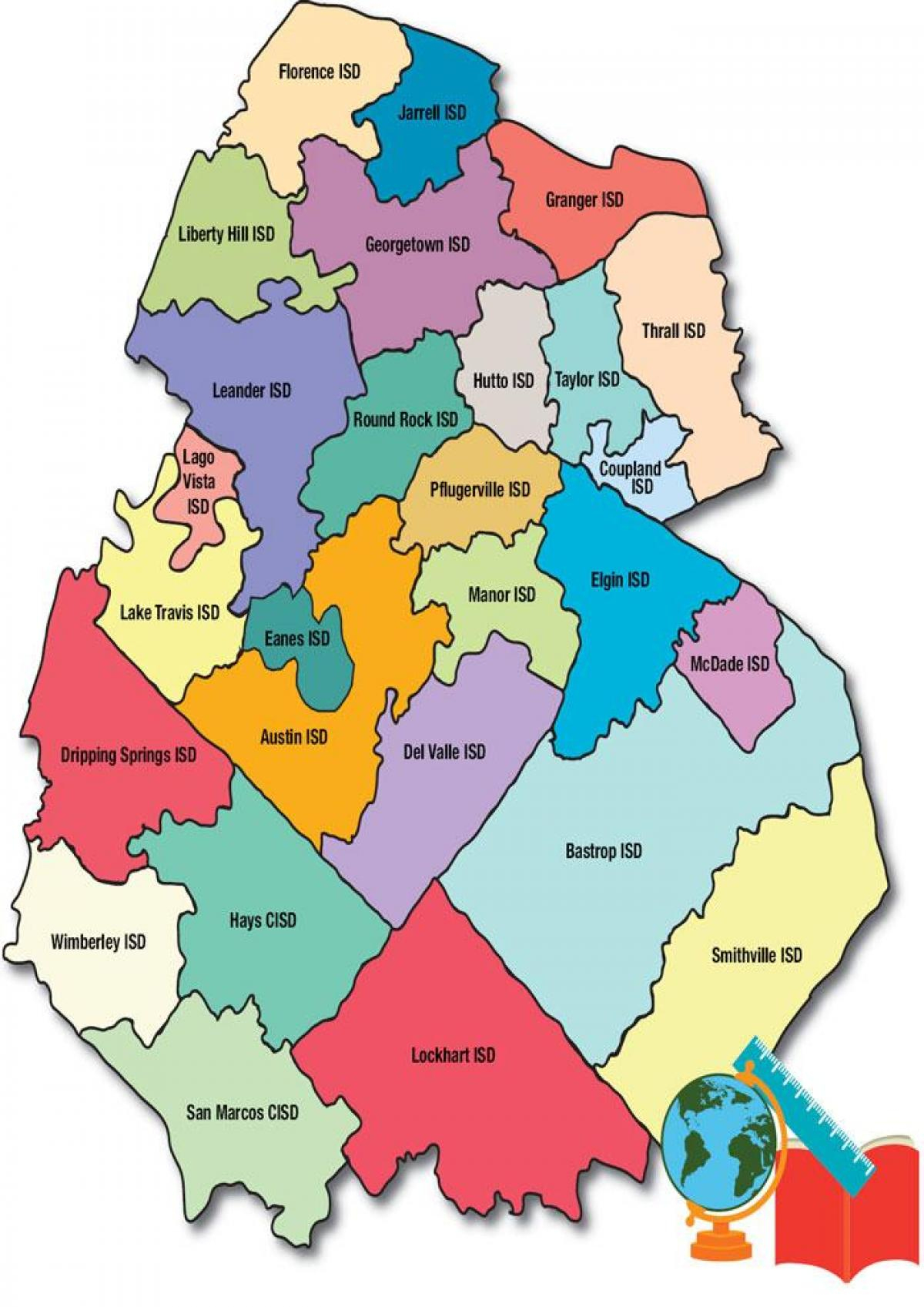 Austin School Districts Map - School District Map Austin (Texas - Usa) - Texas School District Map