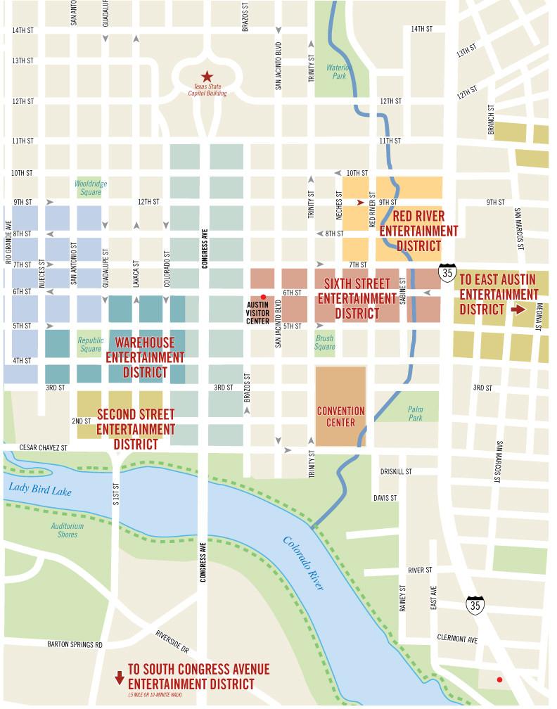 Austin Texas Map Downtown | Smoothoperators - Austin Texas Map Downtown