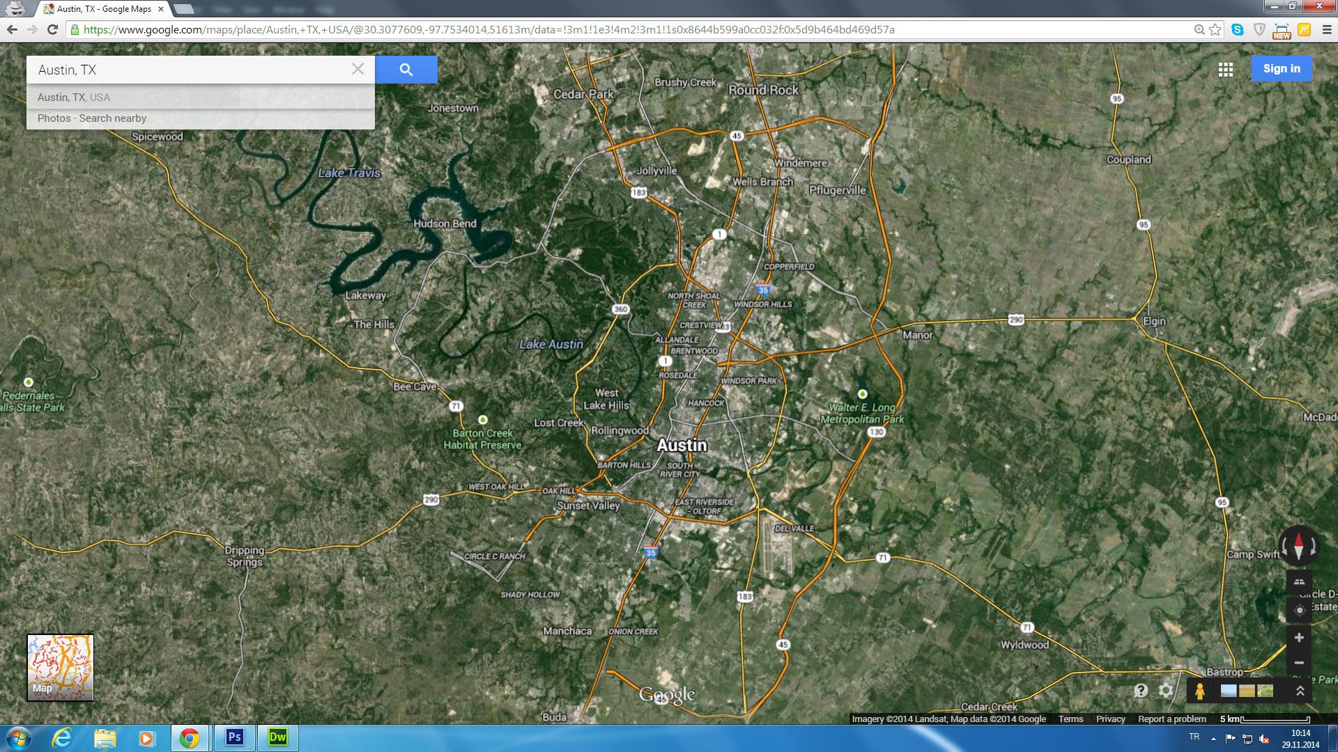 Austin, Texas Map - Google Satellite Map Of Texas