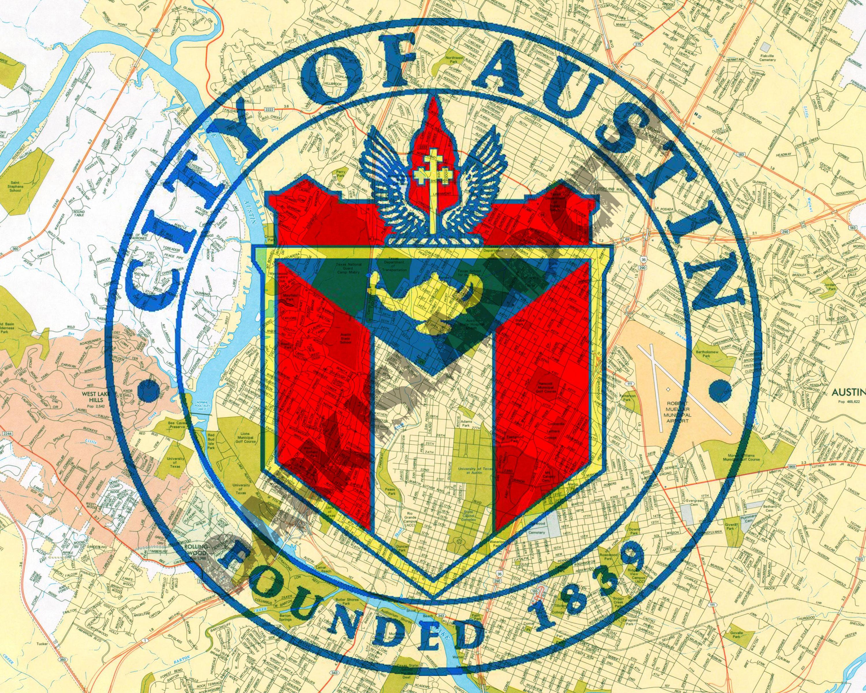Austin Texas Seal - Austin Map Background - 8 X 10 Print - Map Store Austin Texas