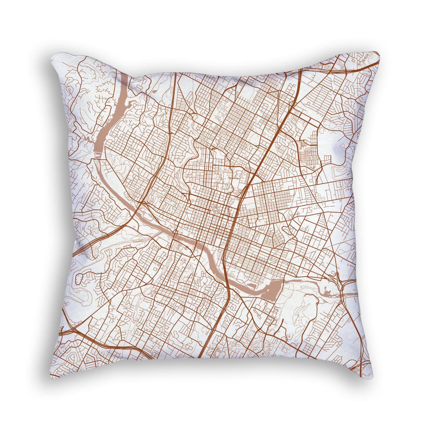 Austin Texas Throw Pillow – City Map Decor - Texas Map Pillow