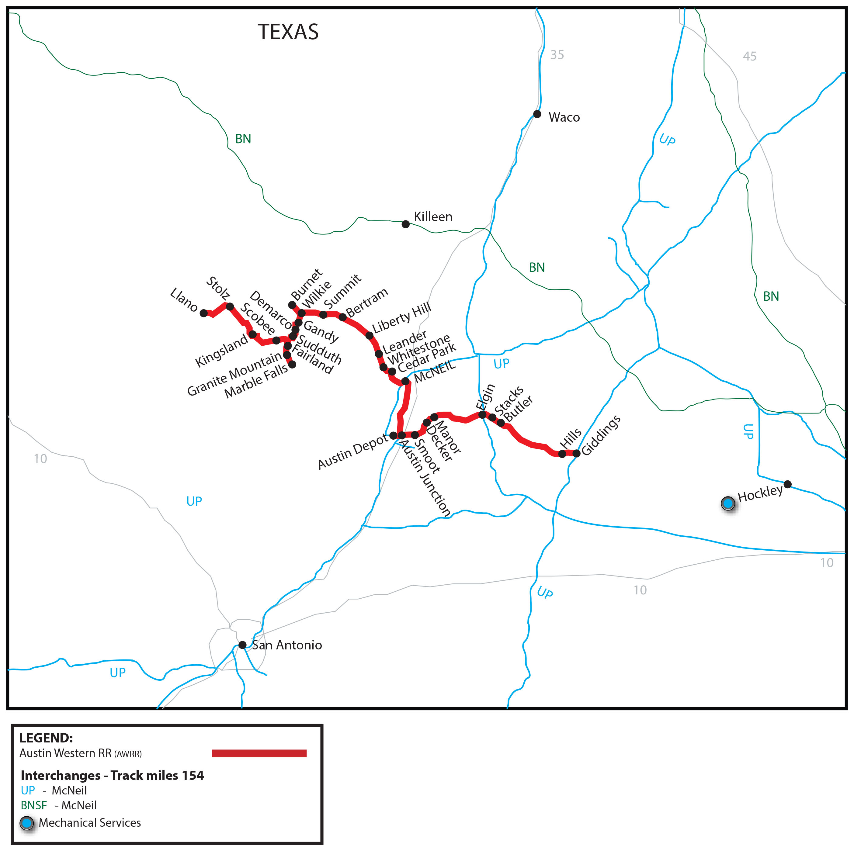 Austin Western Railroad (Awrr) - Watco Companies - Giddings Texas Map