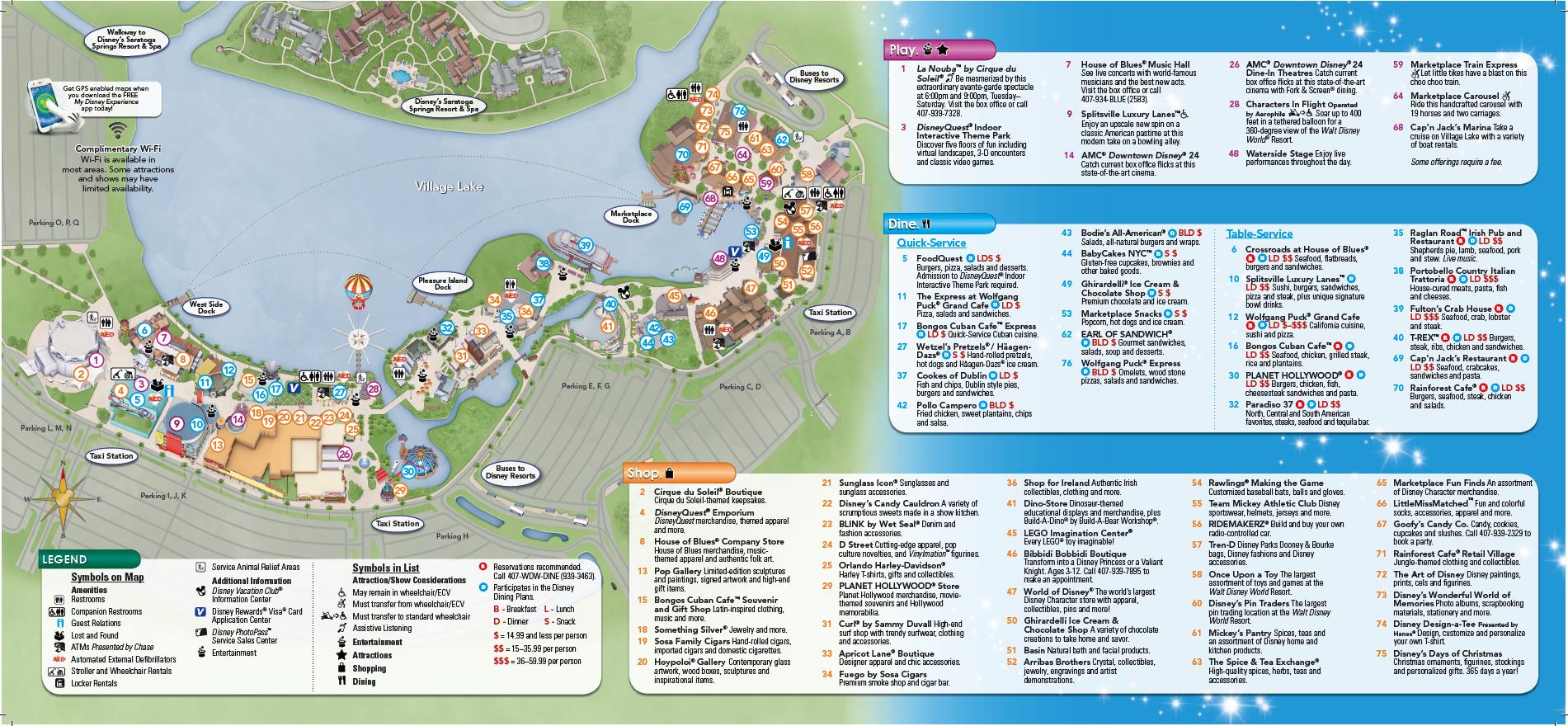 Backside Of Downtown Disney Brochure | Disney Springs | Downtown - Map Of Downtown Disney Orlando Florida