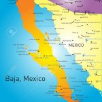 Baja California Vector Color Map Map California Baja California   Map Of Baja California Mexico