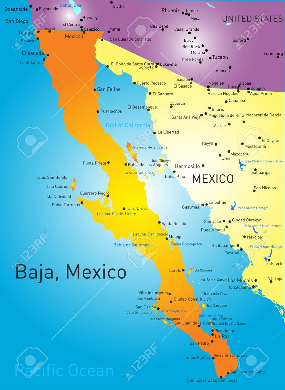 Baja California Vector Color Map Map Of Cities Where Is Baja - Baja California Norte Map