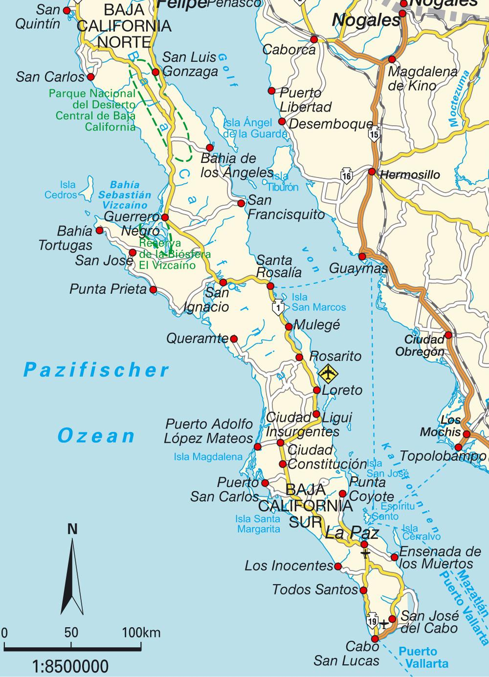 Baja Sur Sierra Cacachilens Maps Of California La Paz Baja - Detailed Baja California Map