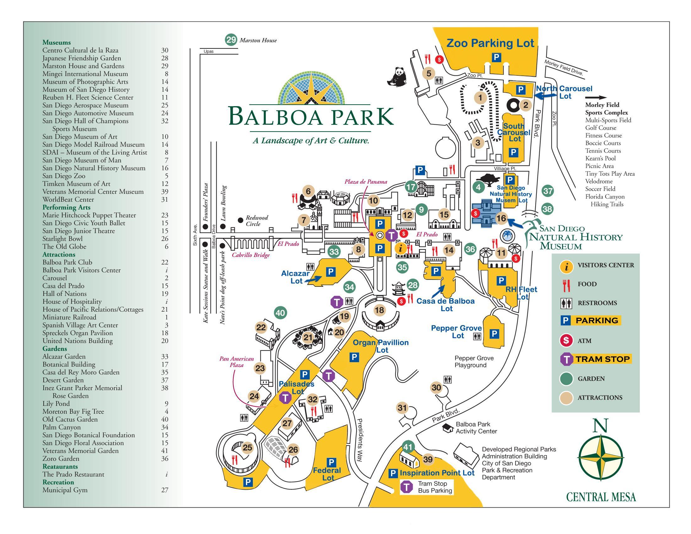 Balboa Park Map - Map Of Balboa Park San Diego (California - Usa) - Map Of Balboa Park San Diego California