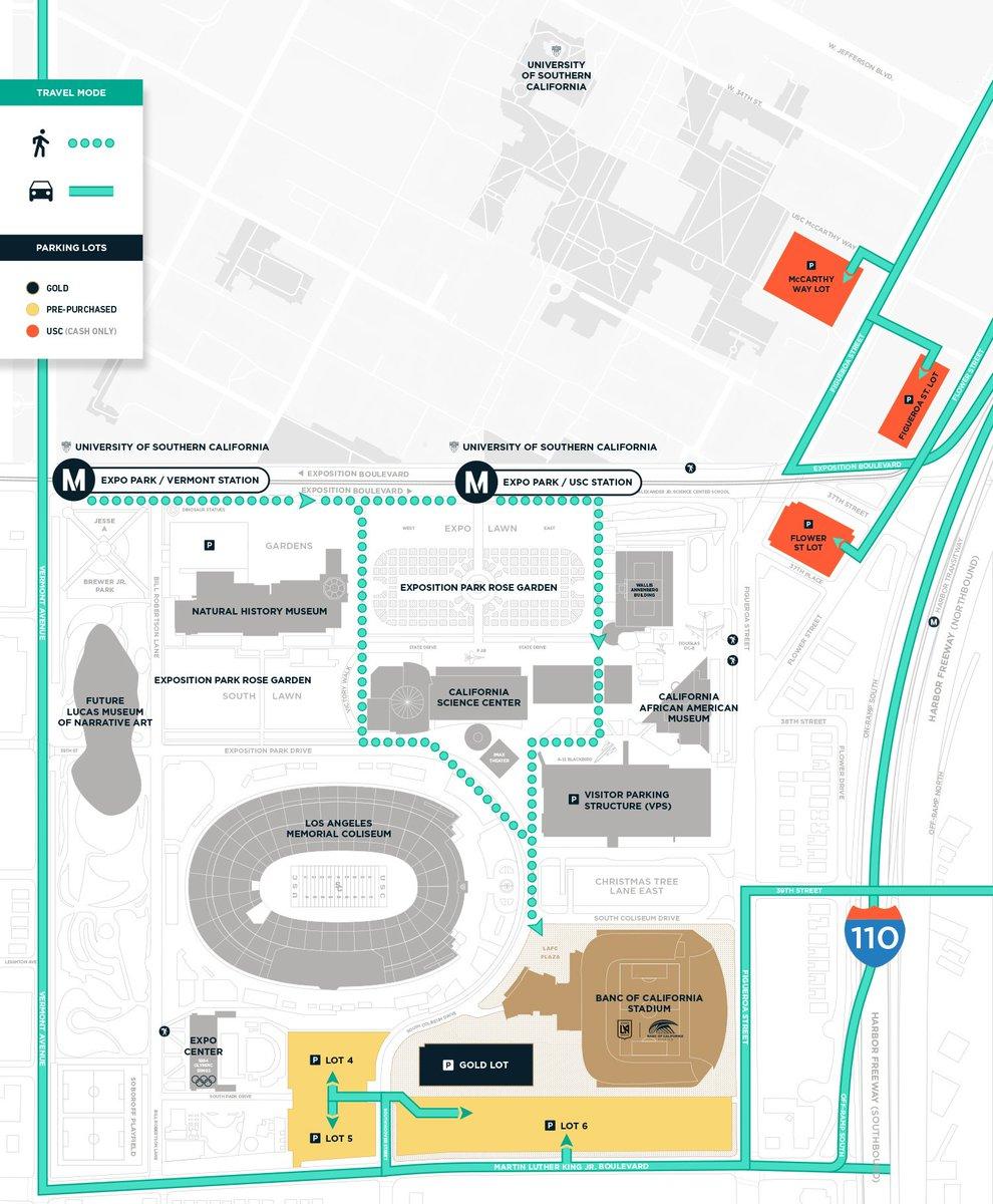 "Banc Of California Stadium On Twitter: ""driving To #lafc Vs. @bvb - Banc Of California Stadium Map"