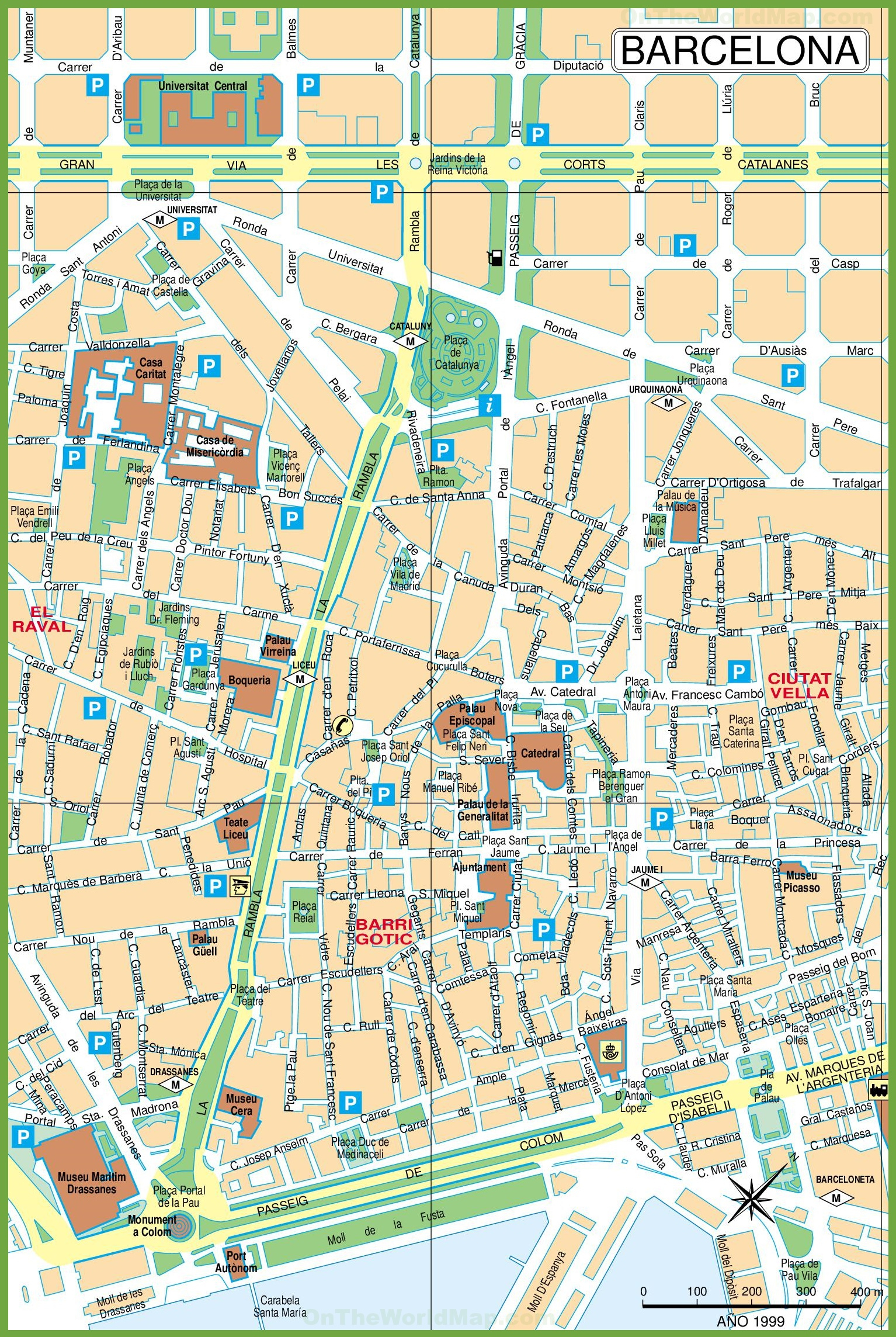 Barcelona City Center Map - Barcelona Street Map Printable