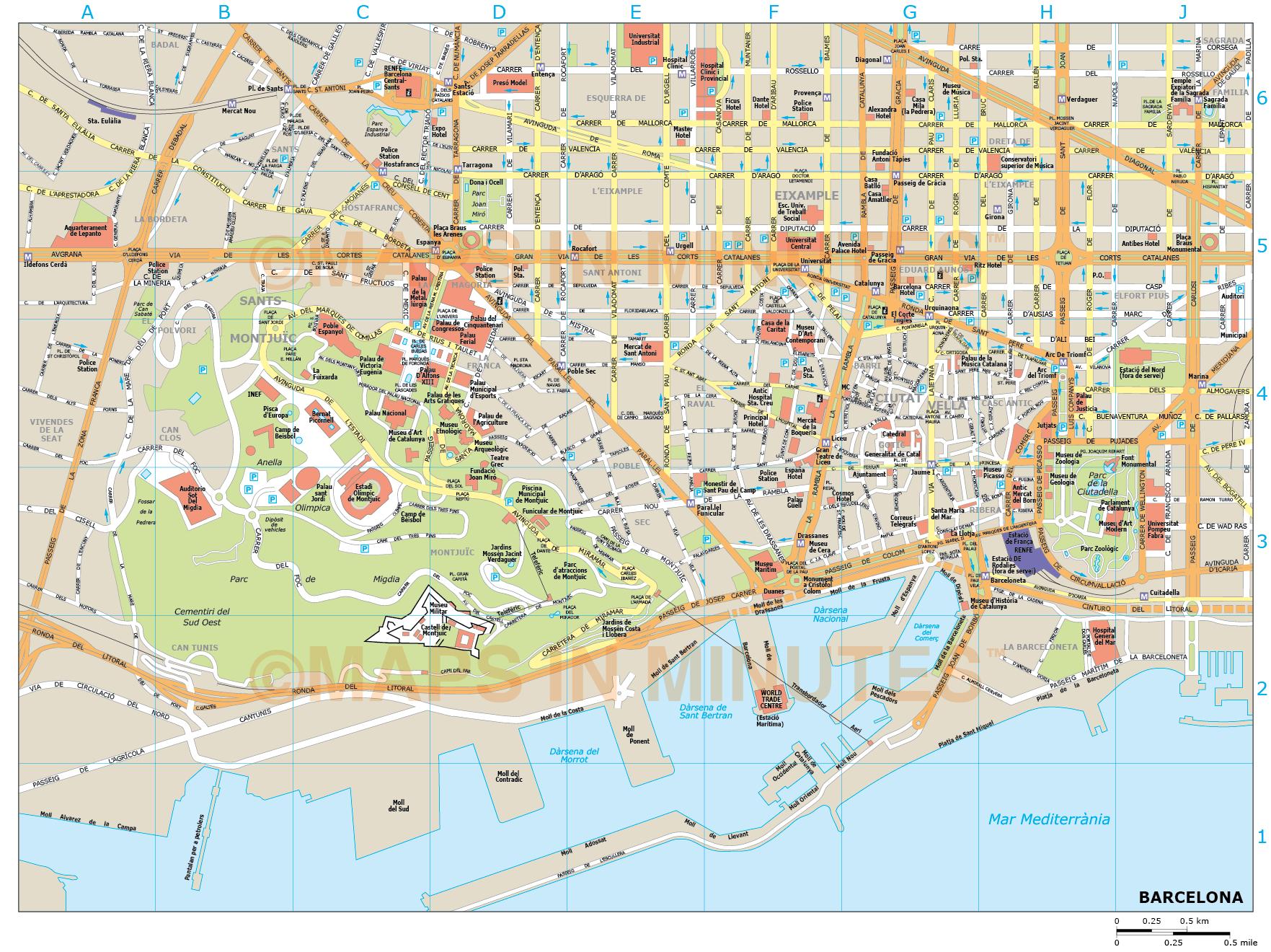 Barcelona City Map In Illustrator Cs Or Pdf Format - Barcelona City Map Printable
